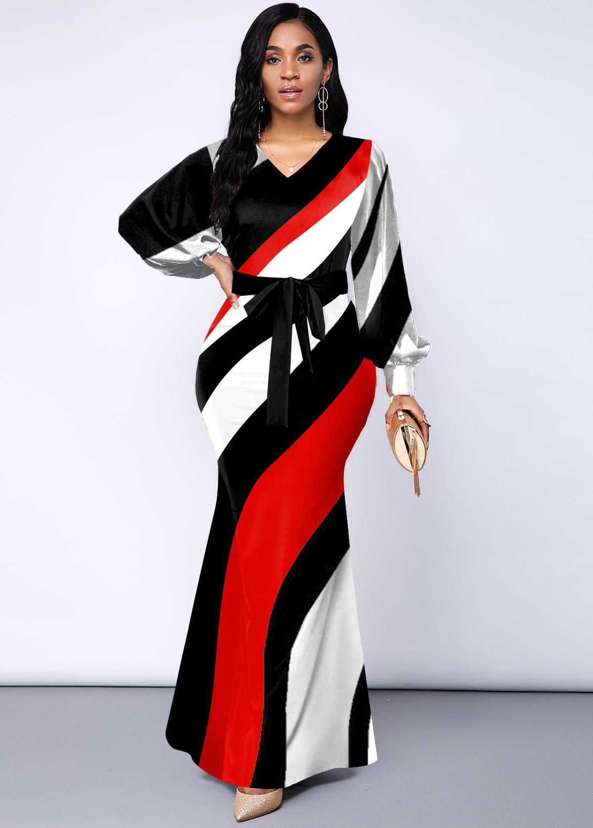 ROTITA Geometric Print V Neck Belted Dress