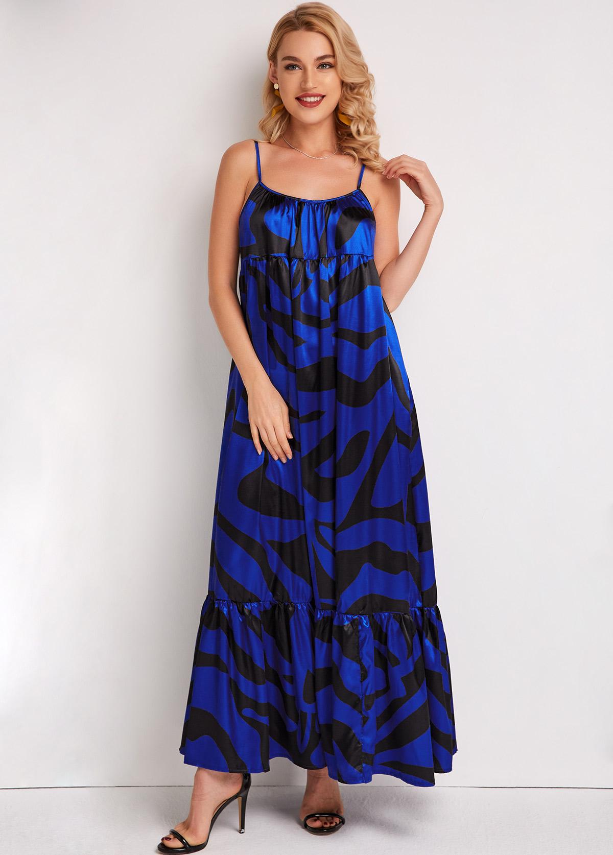 Spaghetti Strap Zebra Print Maxi Dress