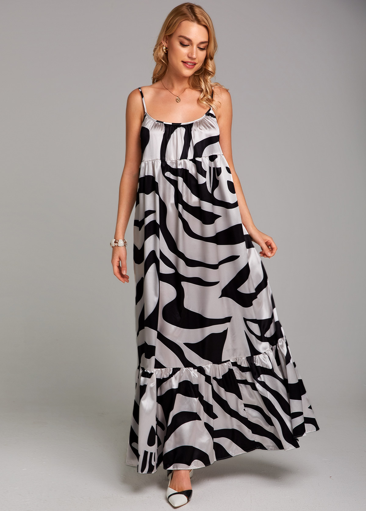 Zebra Print Spaghetti Strap Maxi Dress