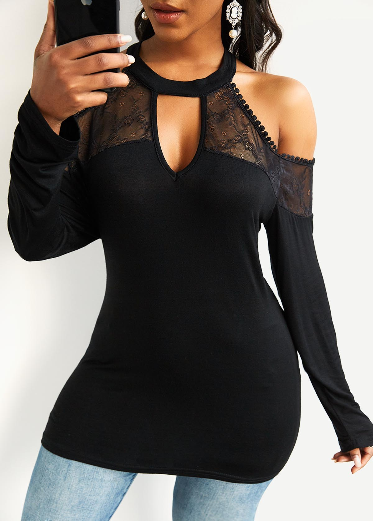 Lace Stitching Cold Shoulder Long Sleeve T Shirt