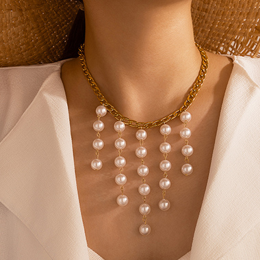 Gold Metal Chain Pearl Detail Necklace