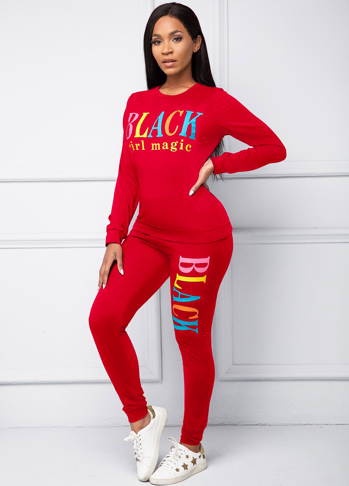 Long Sleeve Round Neck Letter Print Top and Pants