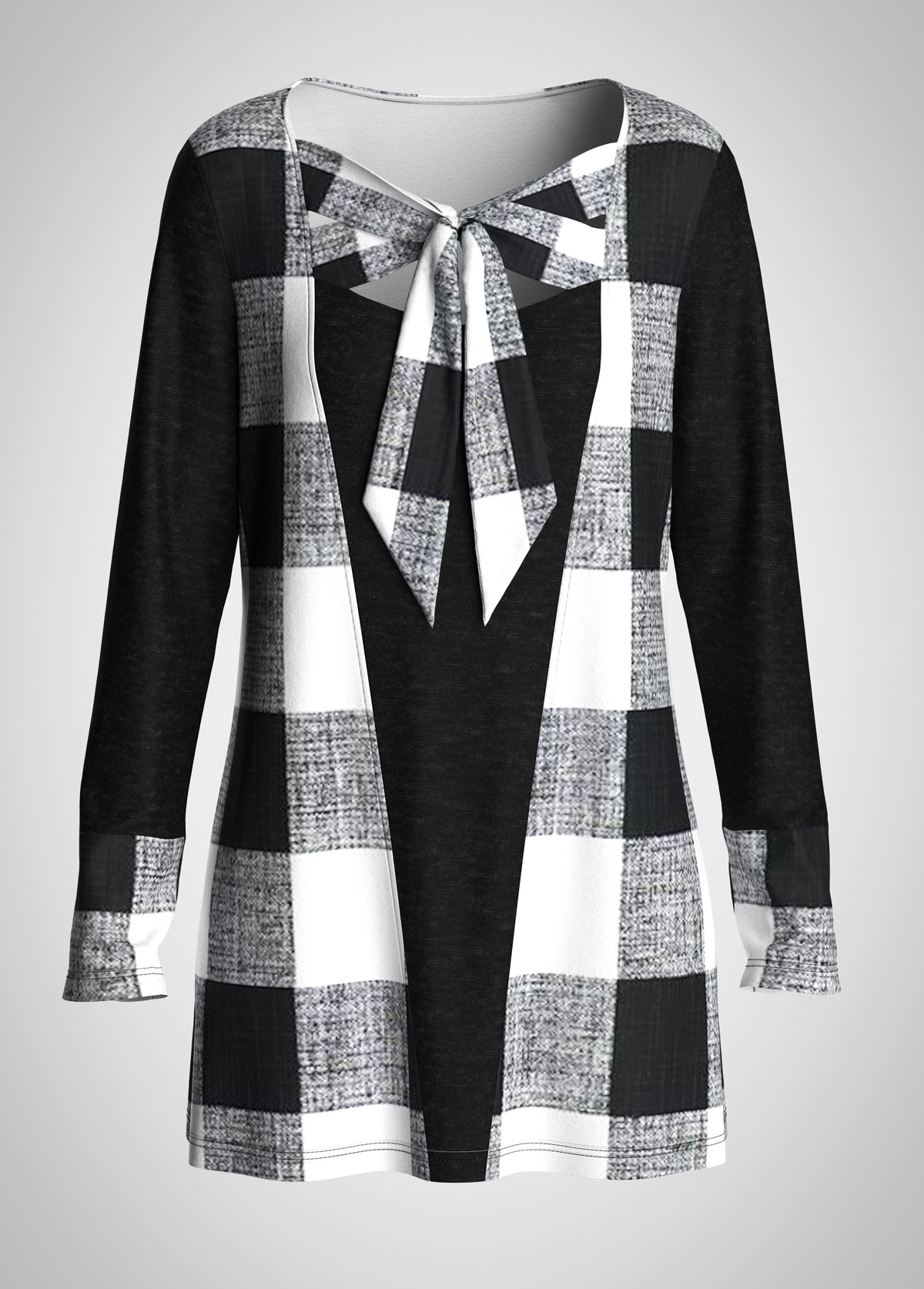 ROTITA Bowknot Long Sleeve Plaid Tunic Top