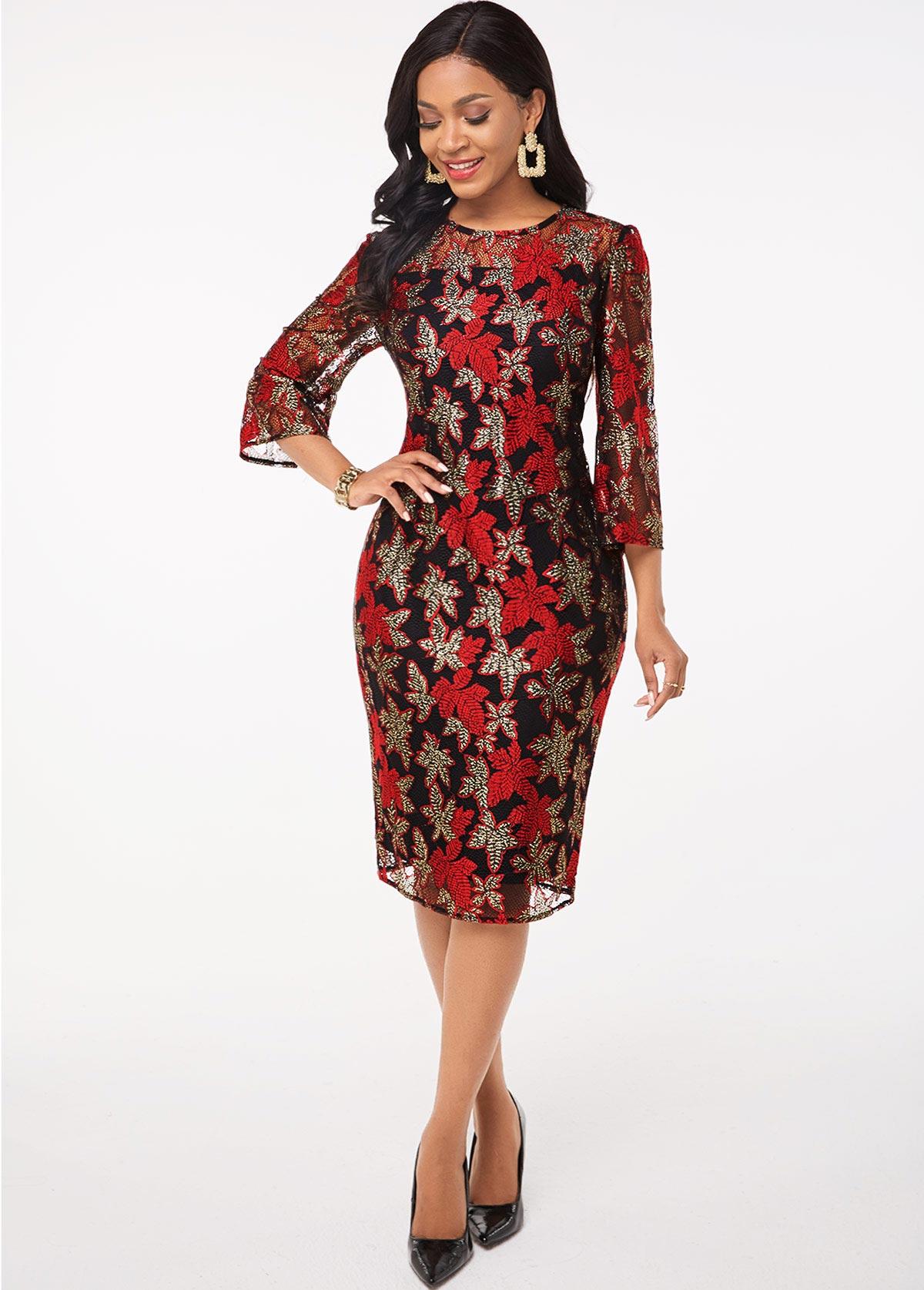 ROTITA Round Neck 3/4 Sleeve Lace Stitching Dress