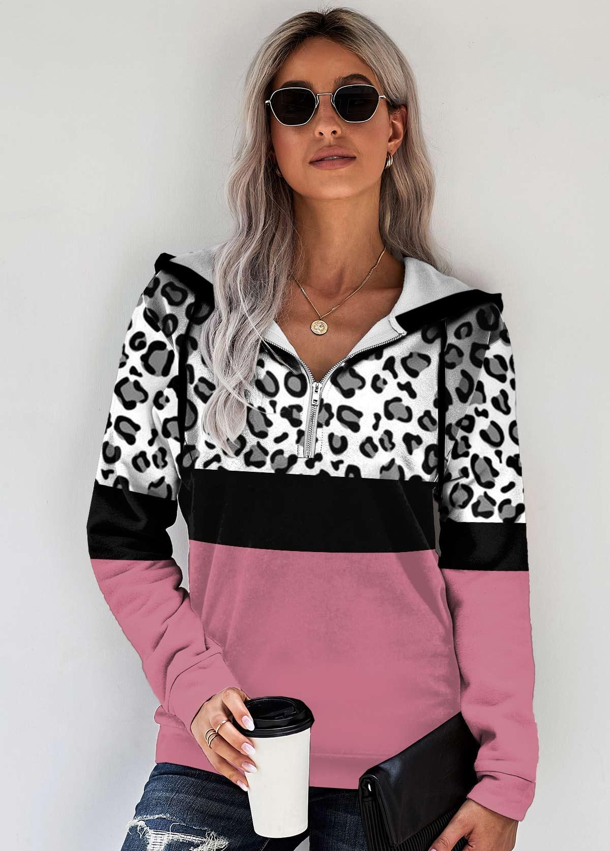 ROTITA Contrast Quarter Zip Long Sleeve Leopard Hoodie