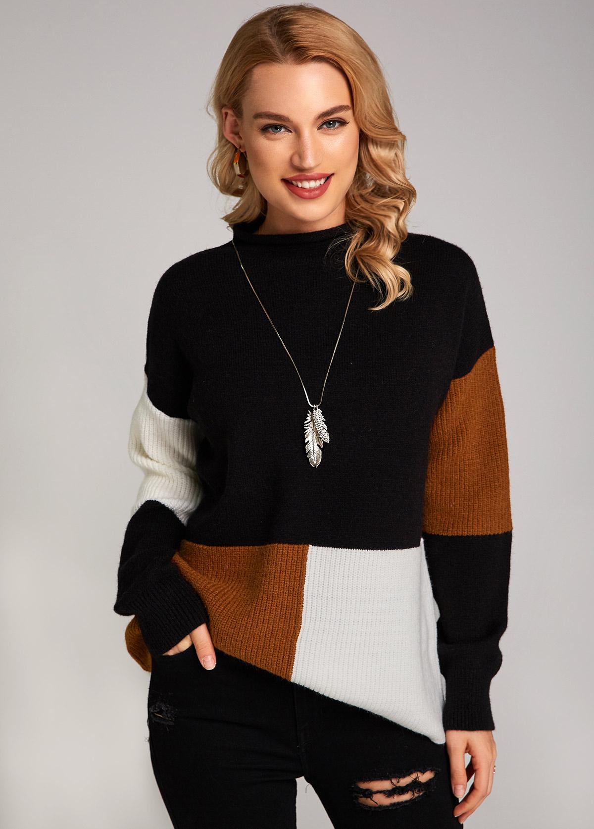 Contrast Mock Neck Long Sleeve Sweater