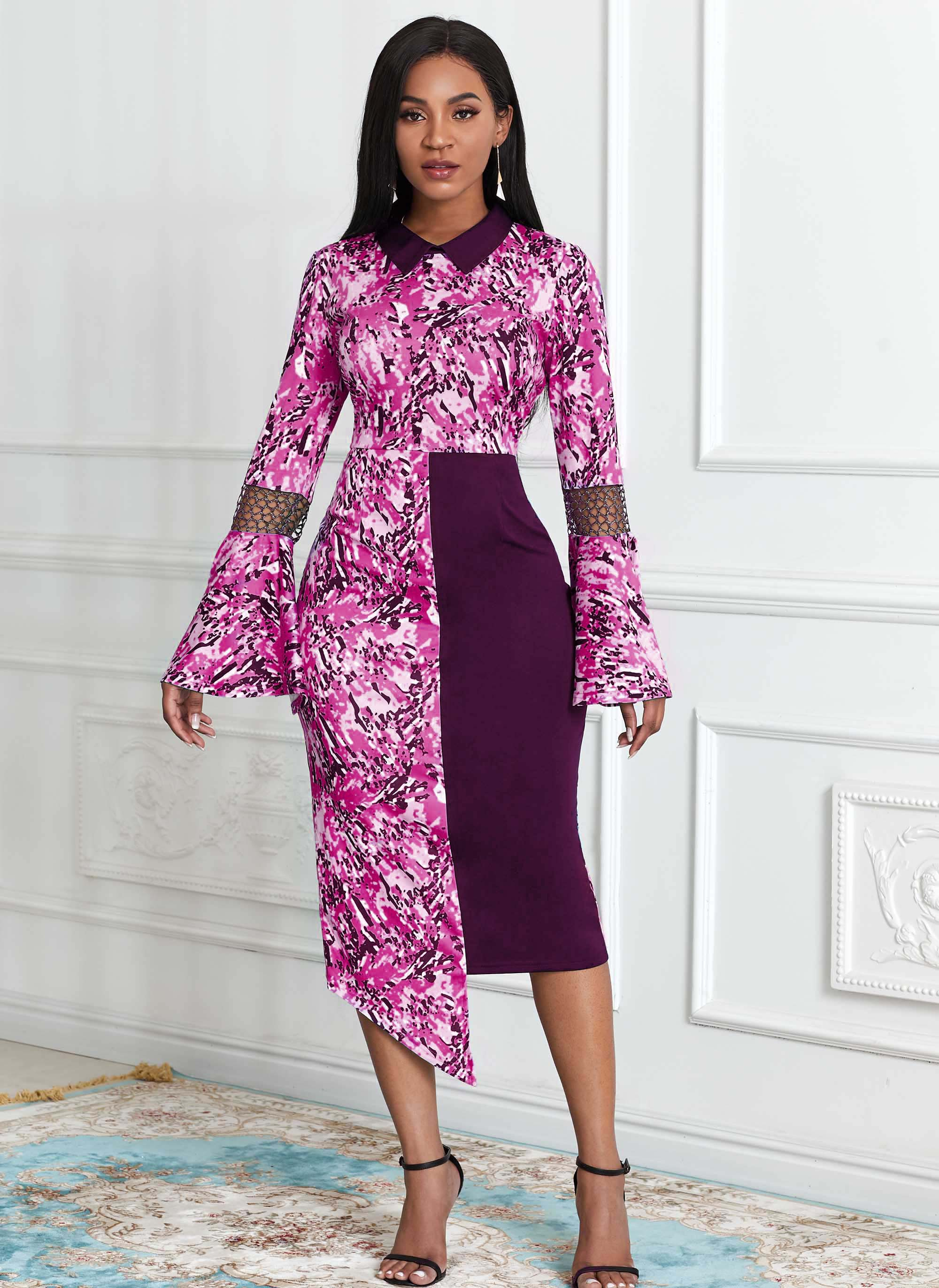 ROTITA Asymmetric Hem Tribal Print Flare Sleeve Dress