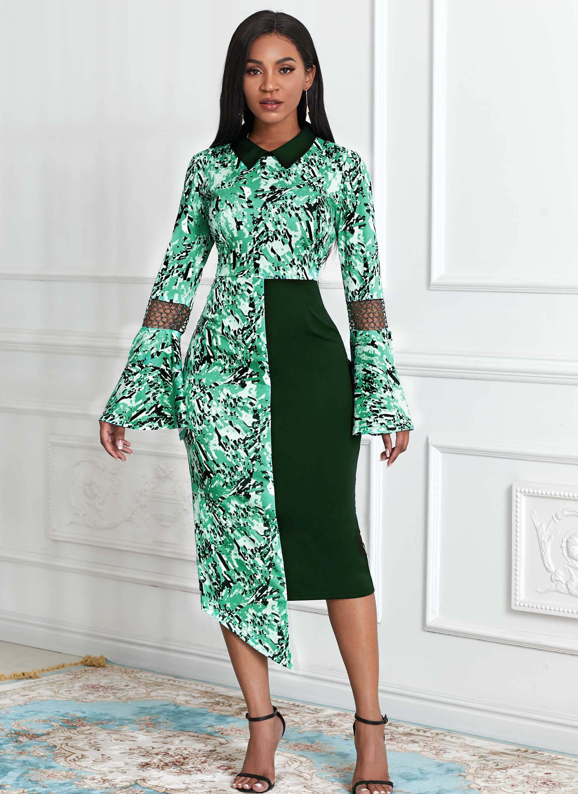 ROTITA Flare Sleeve Asymmetric Hem Tribal Print Dress