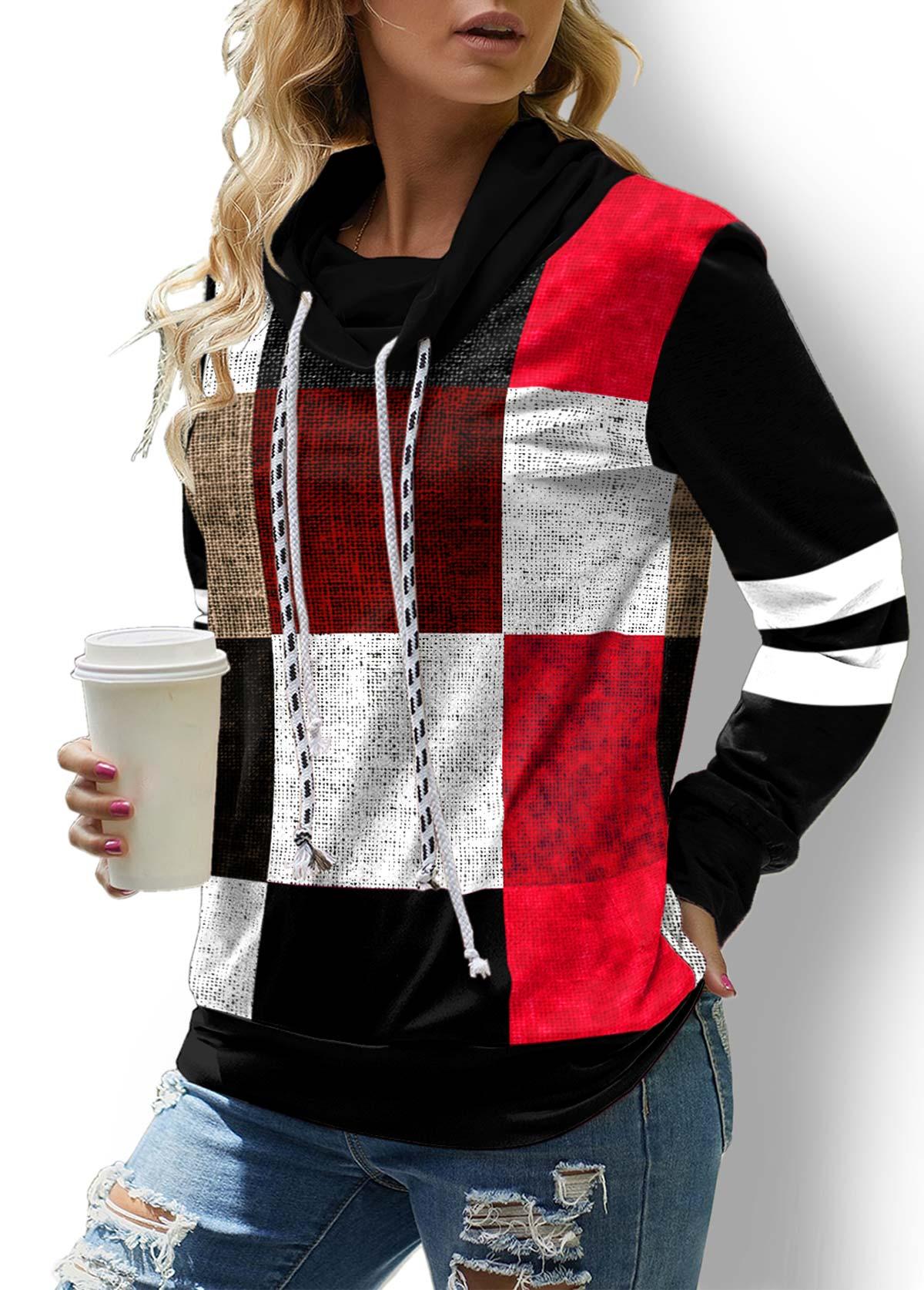 ROTITA Contrast Plaid Drawstring Long Sleeve Sweatshirt