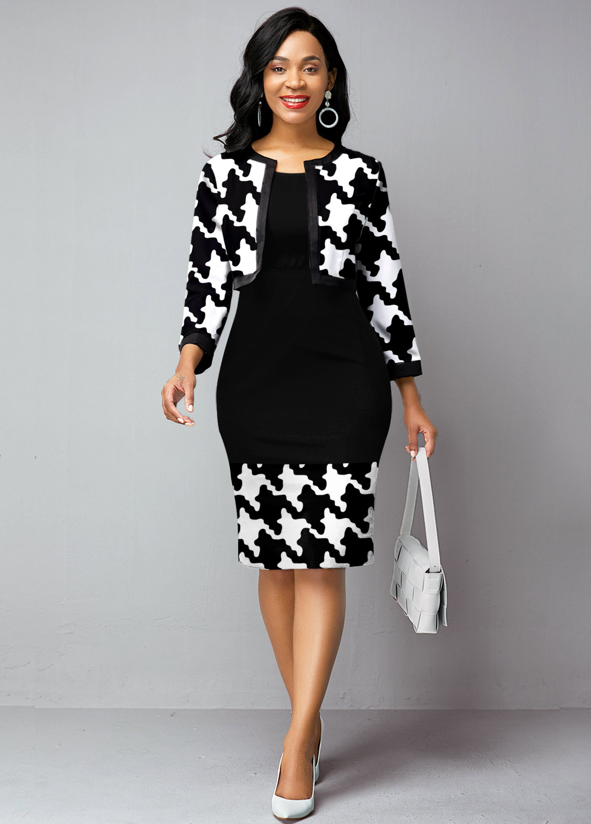 ROTITA Open Front Houndstooth Print Cardigan and Dress