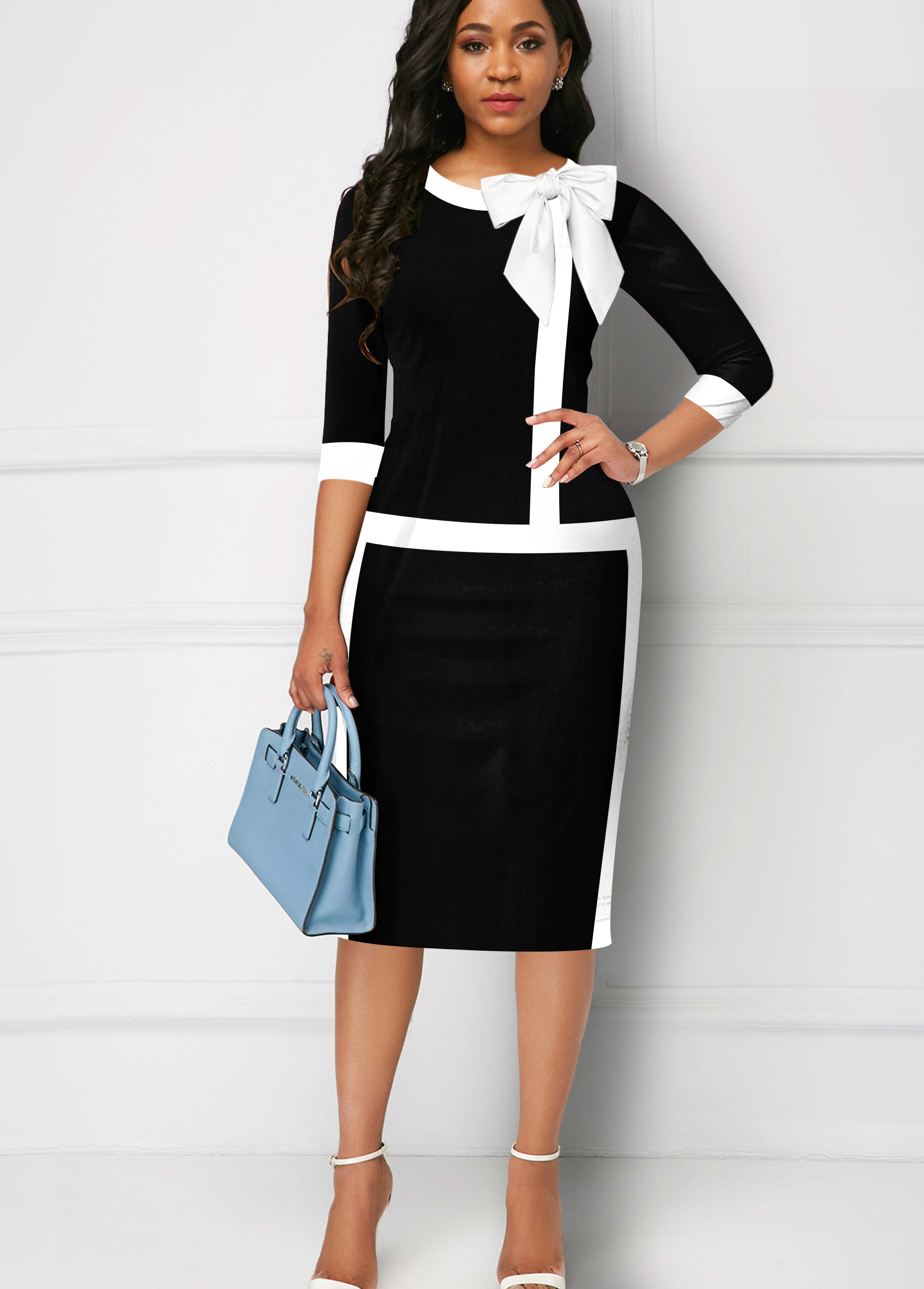 ROTITA Contrast Piping 3/4 Sleeve Bowknot Dress
