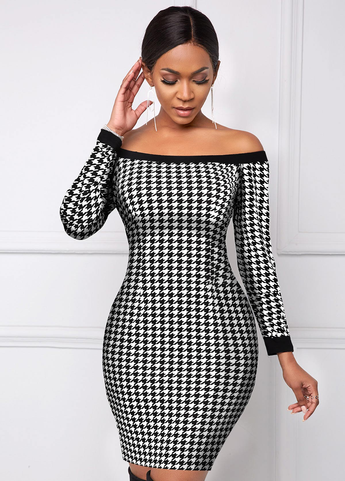 ROTITA Boat Neck Houndstooth Print Long Sleeve Dress