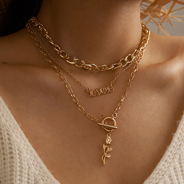 Layered Letter Rose Detail Gold Metal Necklace