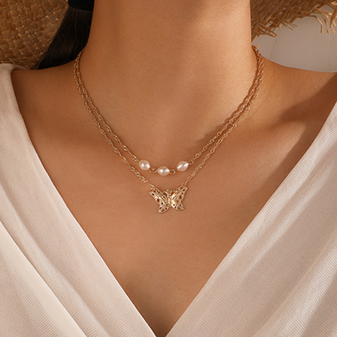 Butterfly Pearl Detail Layered Metal Necklace