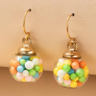 1.8 X 2.5cm Colorful Ball Gold Metal Earring Set