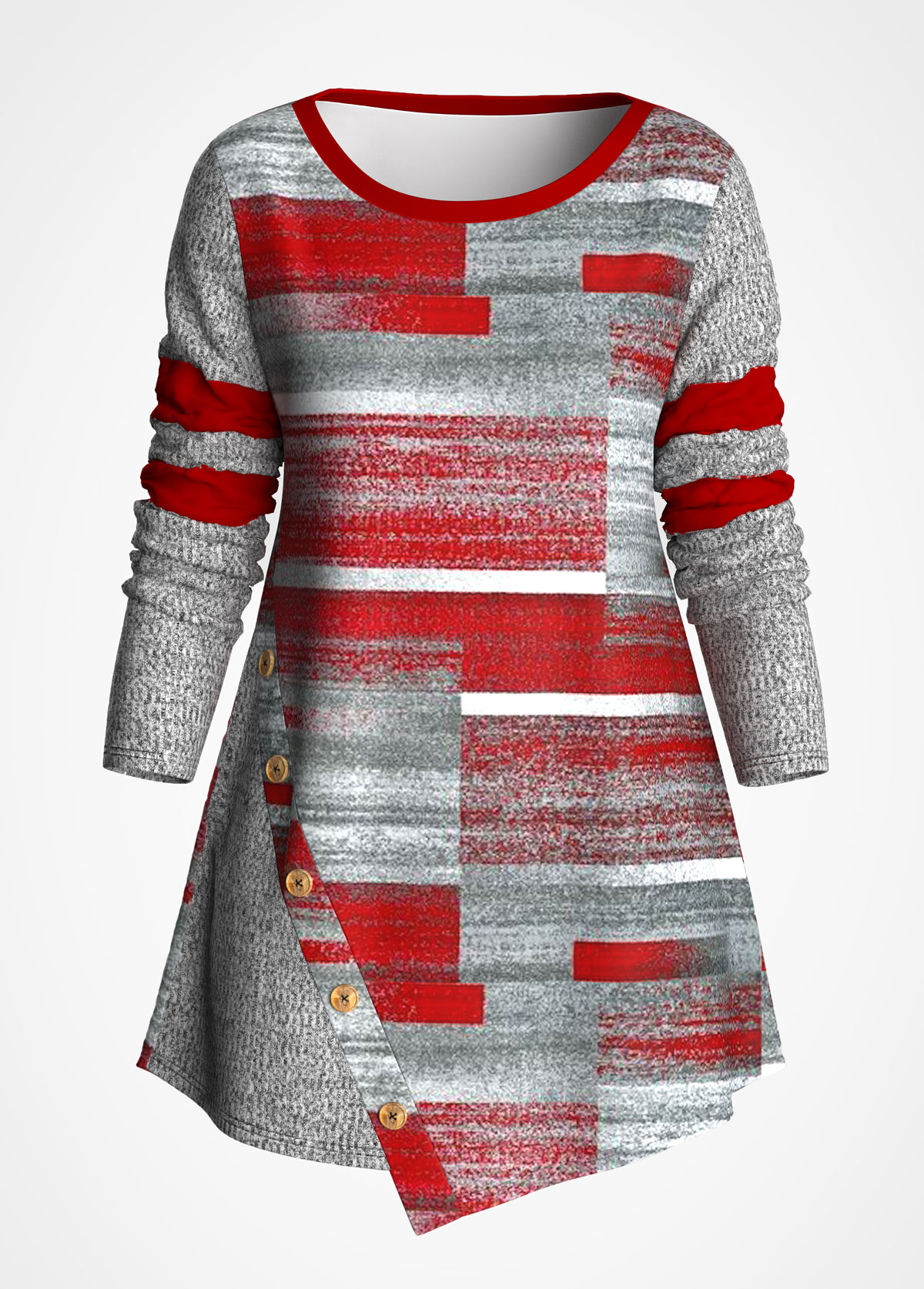 ROTITA Asymmetric Hem Contrast Geometric Print T Shirt