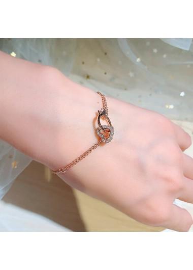 Clothing & Accessories Heart Design Gold Metal Rhinestone Detail Bracelet