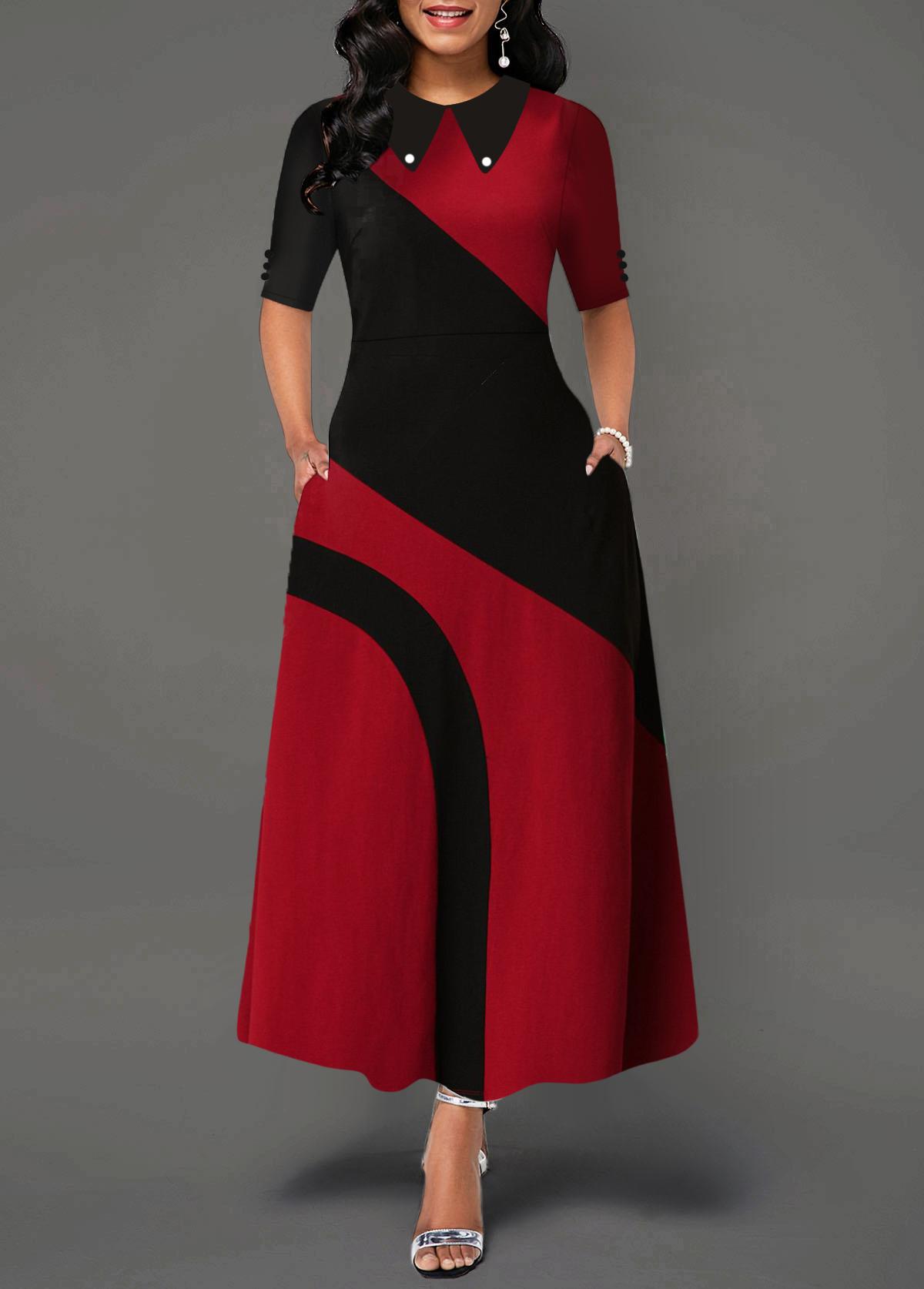 ROTITA Turndown Collar Contrast Side Pocket Maxi Dress