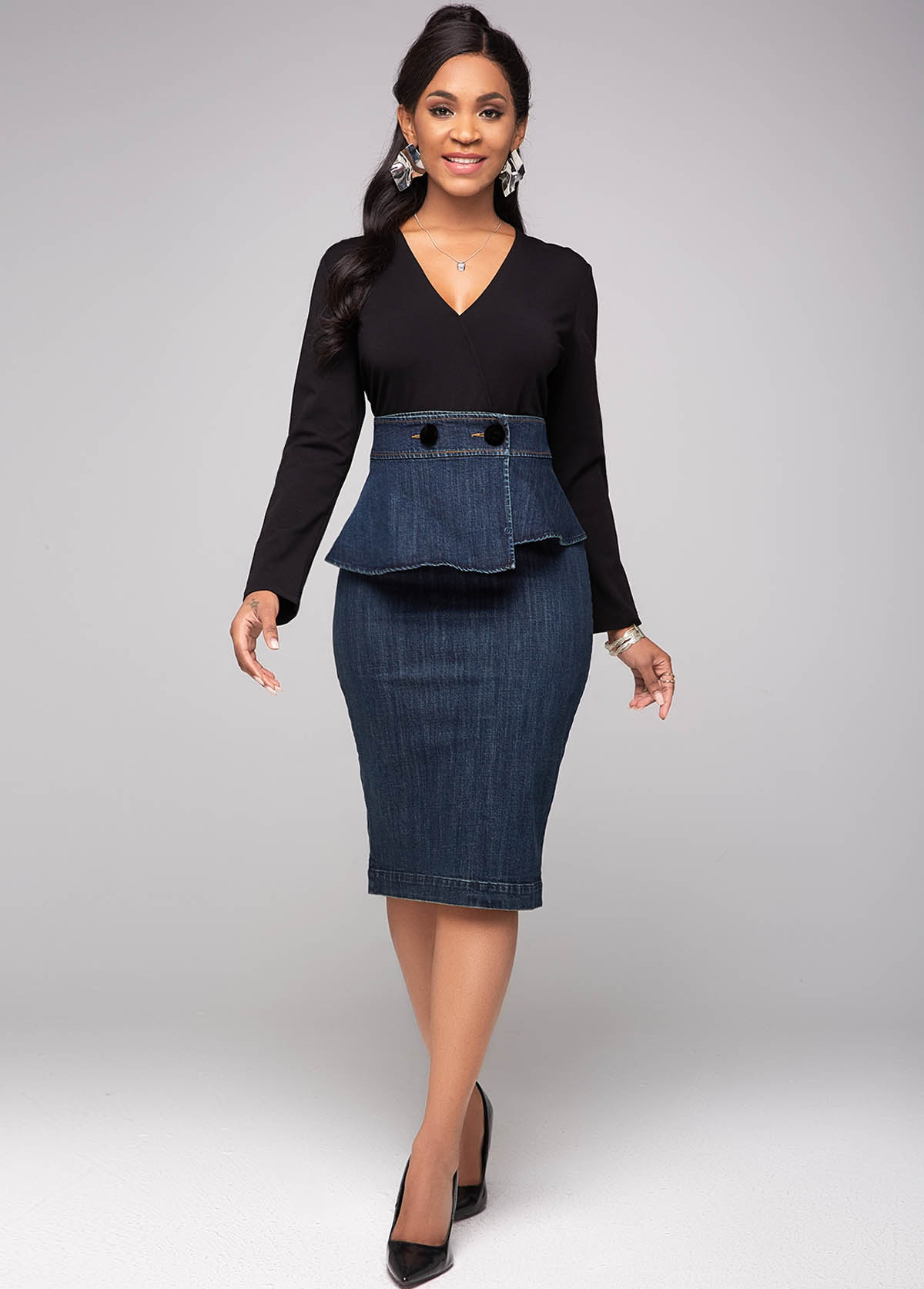 ROTITA V Neck Long Sleeve Contrast Denim Dress