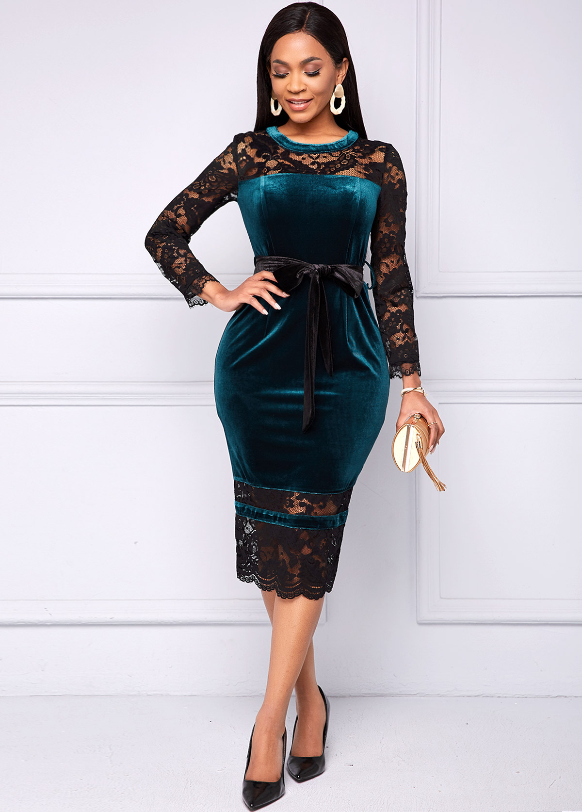 ROTITA Long Sleeve Lace and Velvet Stitching Belted Dress