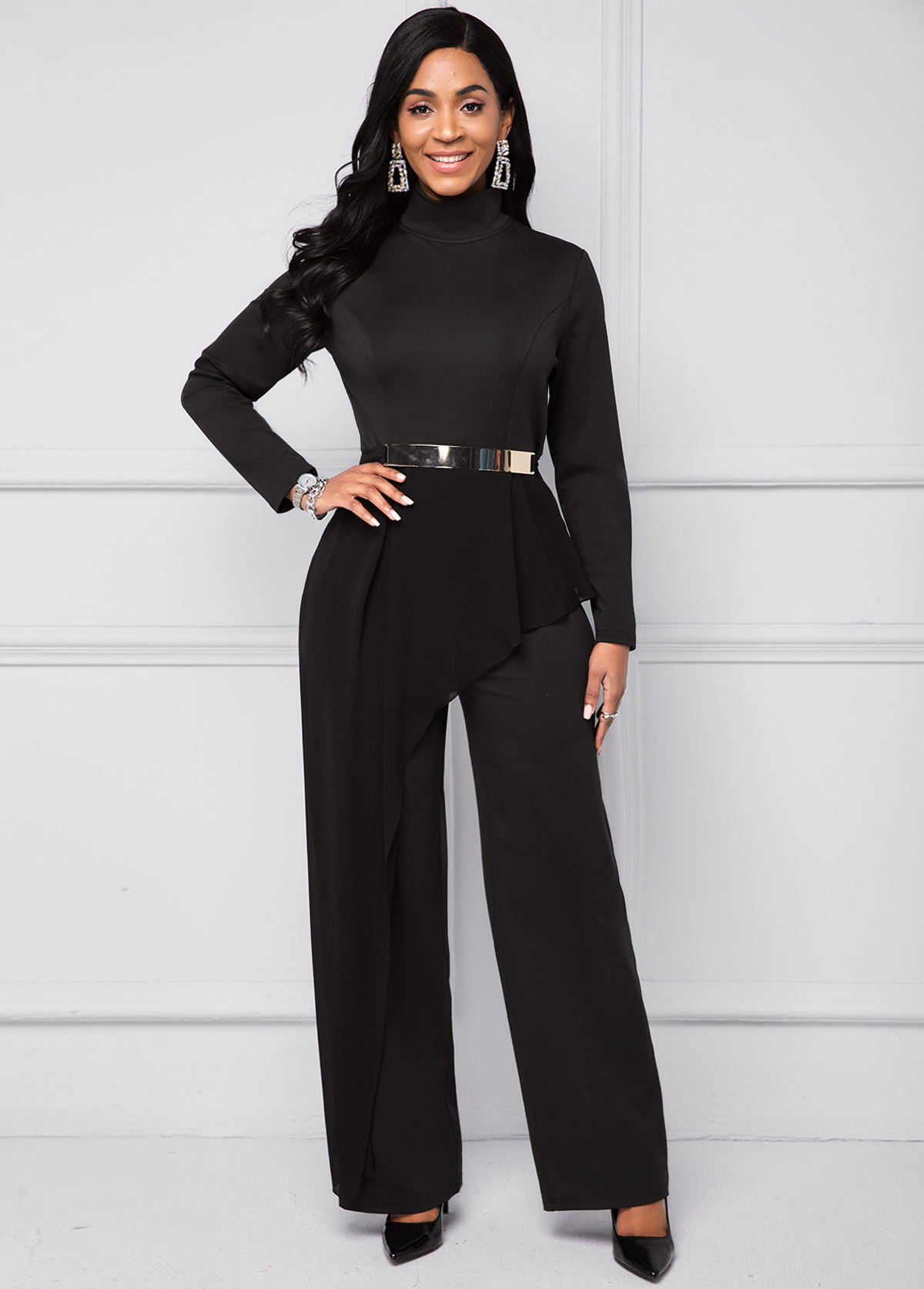 ROTITA Mock Neck Flounce Long Sleeve Belted Jumpsuit
