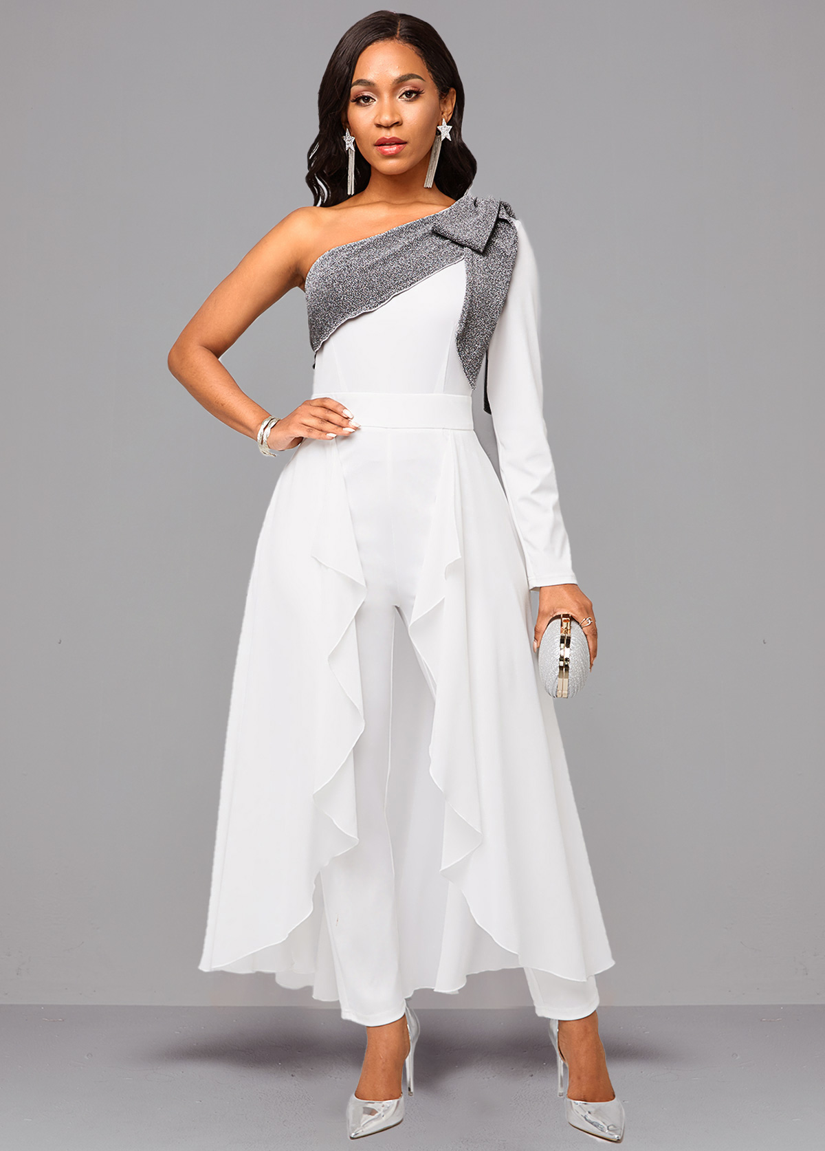 ROTITA Tie Side One Sleeve White Jumpsuit