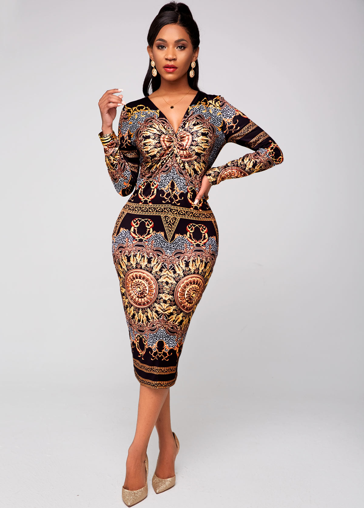 ROTITA V Neck Tribal Print Long Sleeve Dress