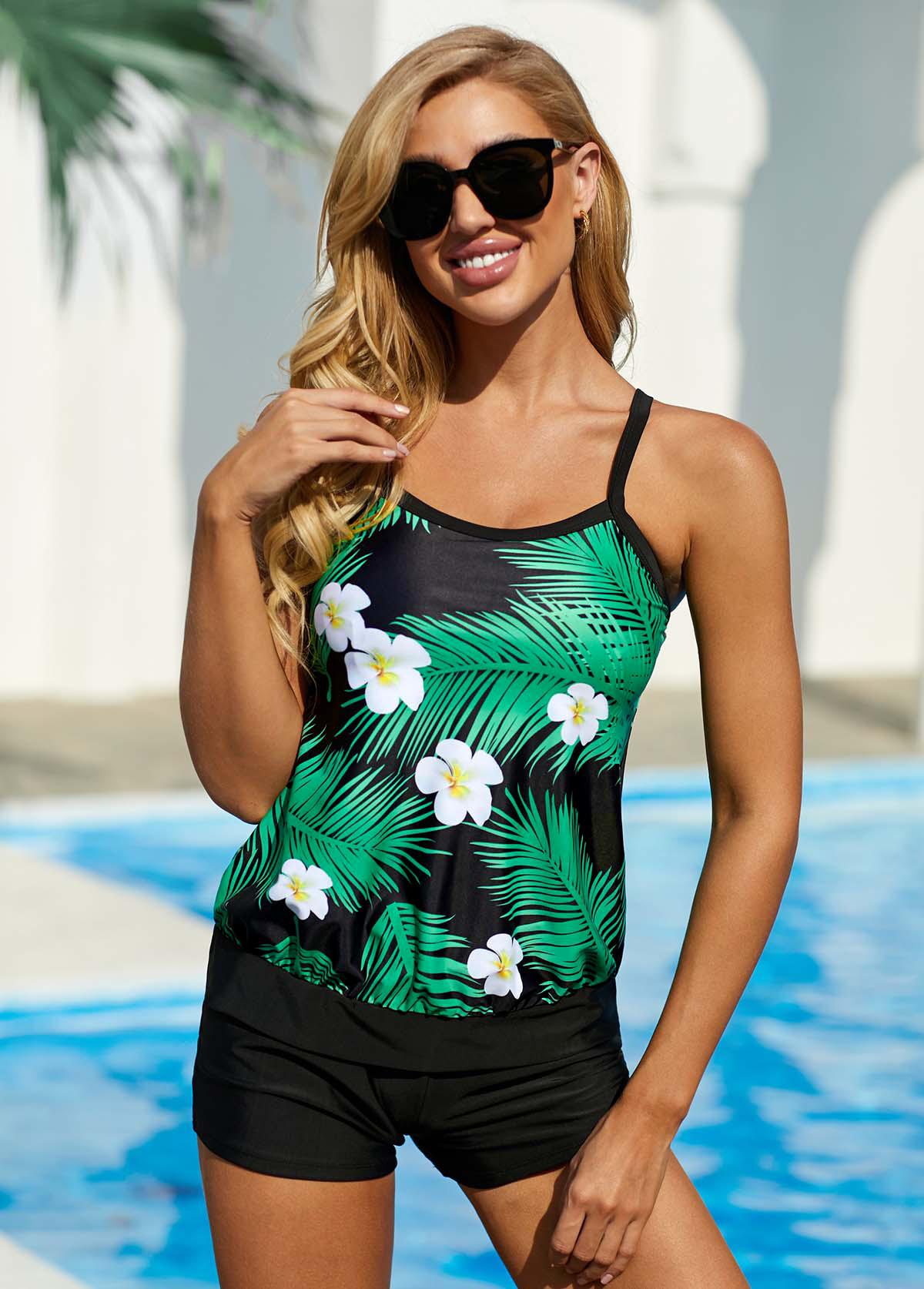 ROTITA Tropical and Floral Print Spaghetti Strap Swimwear Top