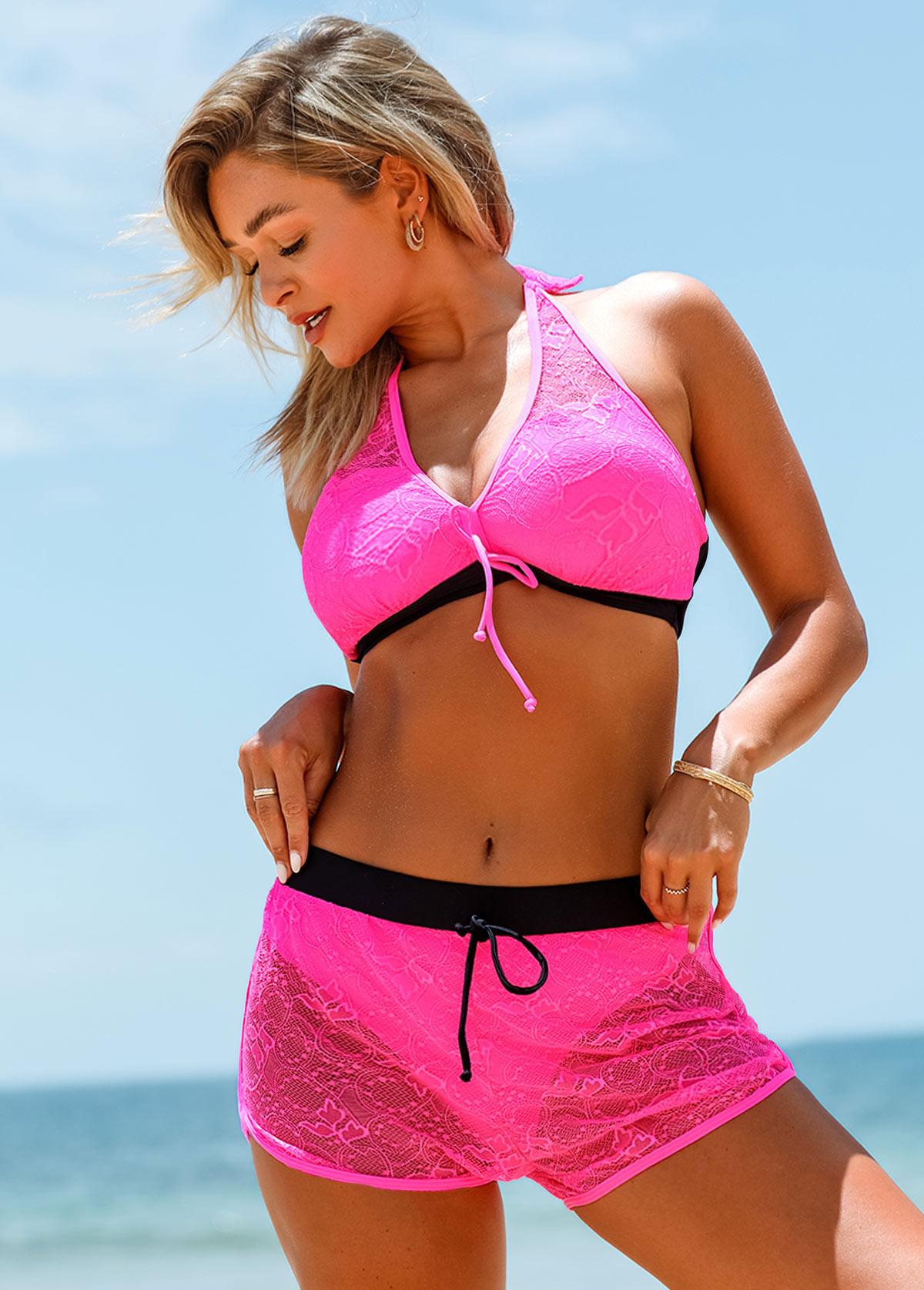 ROTITA Halter Lace Stitching Knot Detail Bikini Set