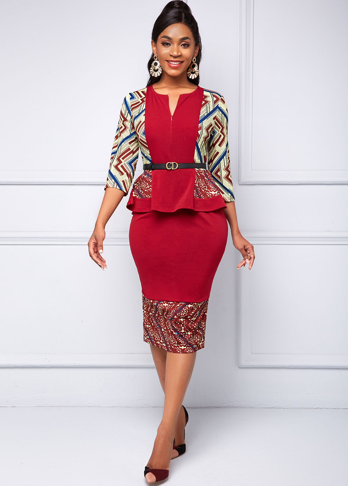 ROTITA Peplum Waist Geometric Print Split Neck Dress