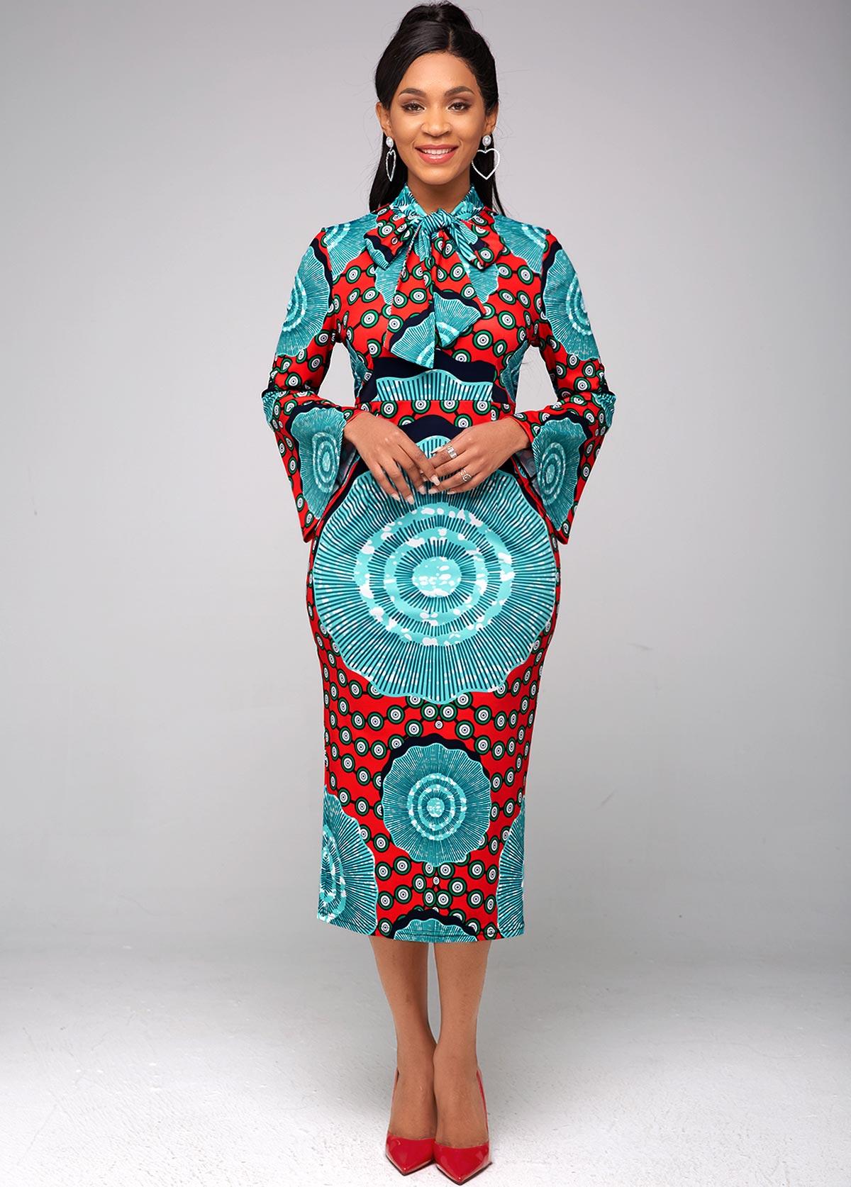 ROTITA Printed Bow Collar Flare Sleeve Dress