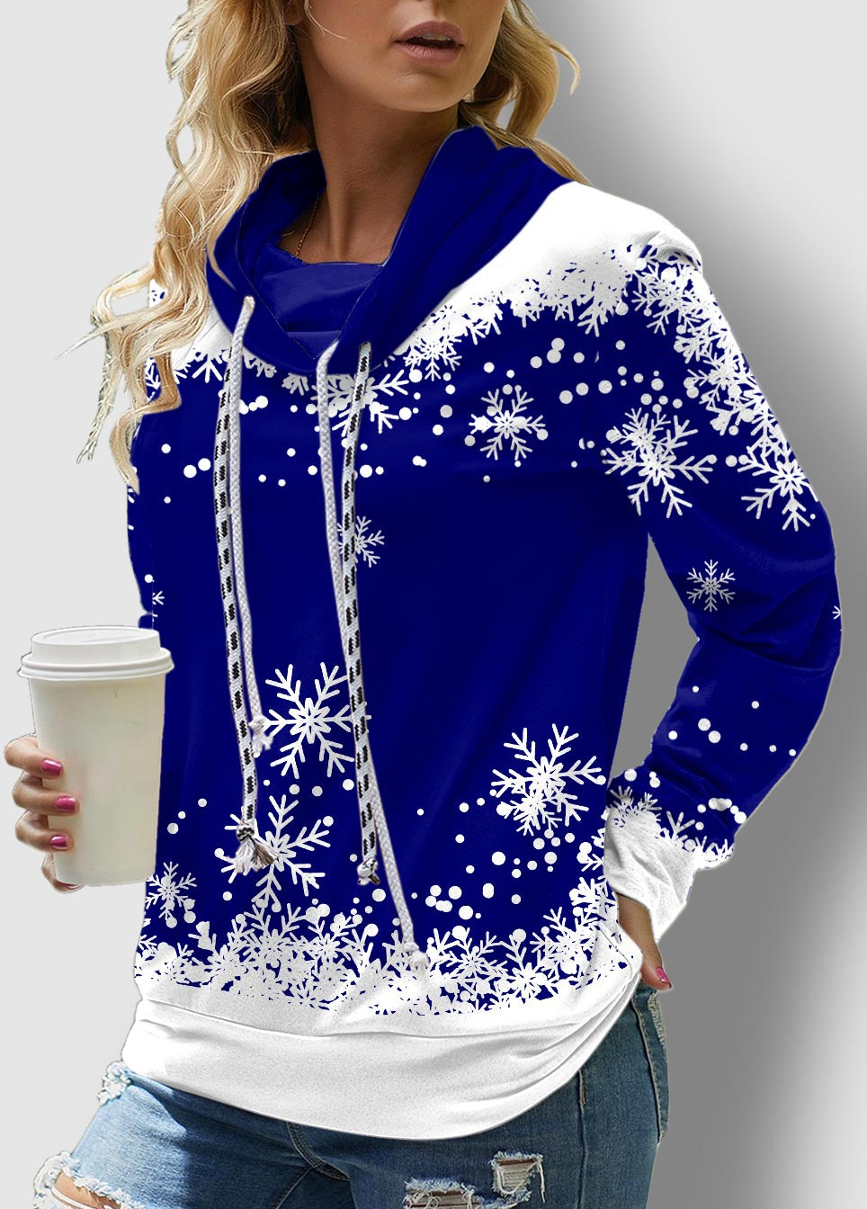 ROTITA Snowflake Print Long Sleeve Drawstring Sweatshirt