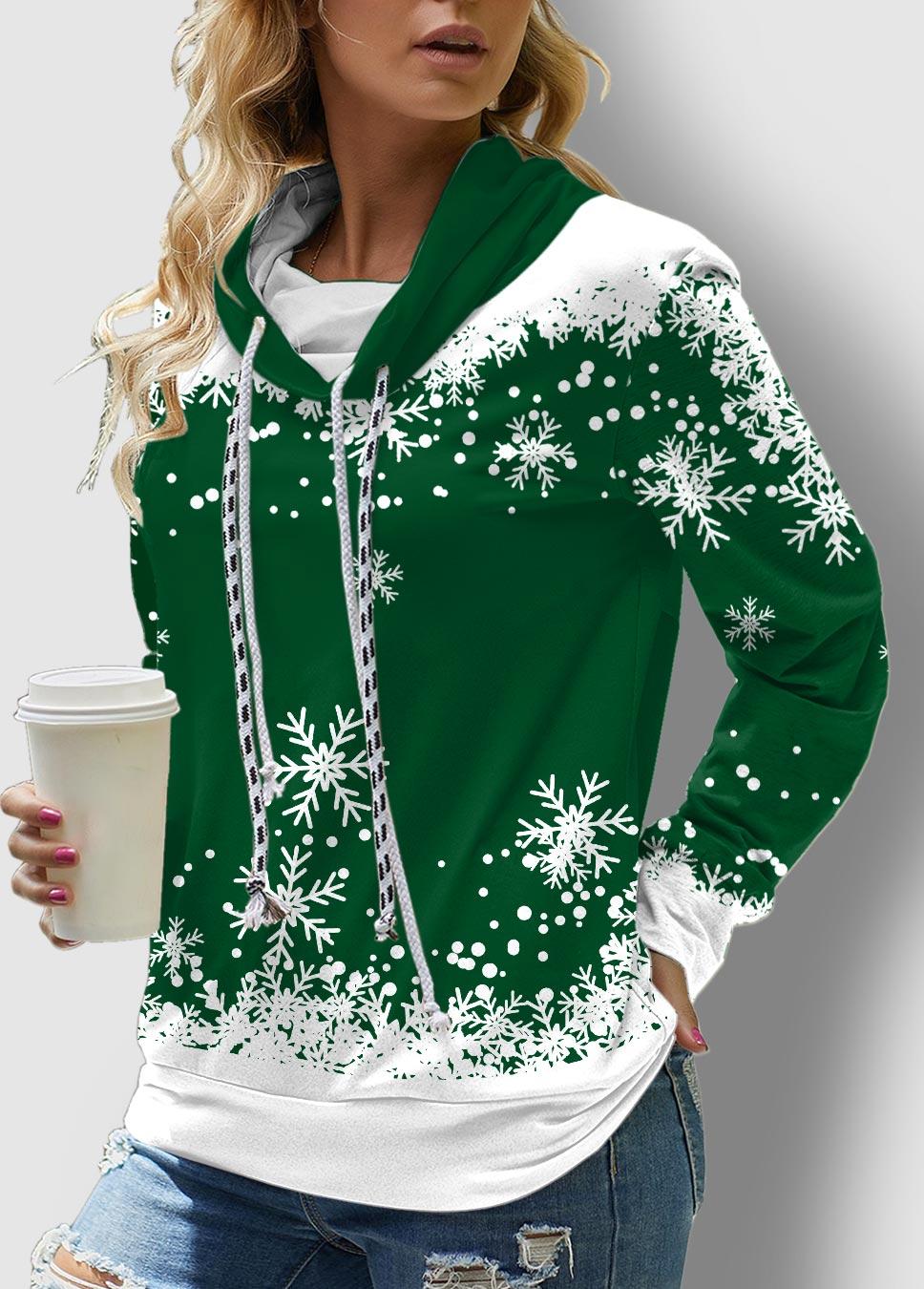 ROTITA Green Christmas Snowflake Print Drawstring Sweatshirt