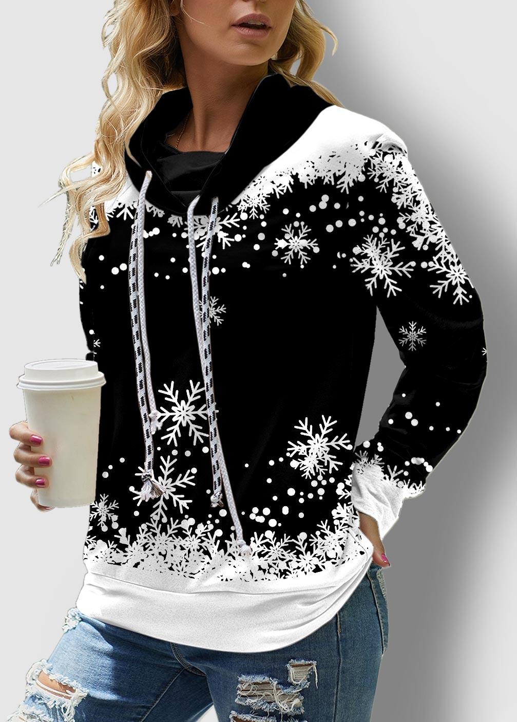 ROTITA Long Sleeve Snowflake Print Drawstring Sweatshirt