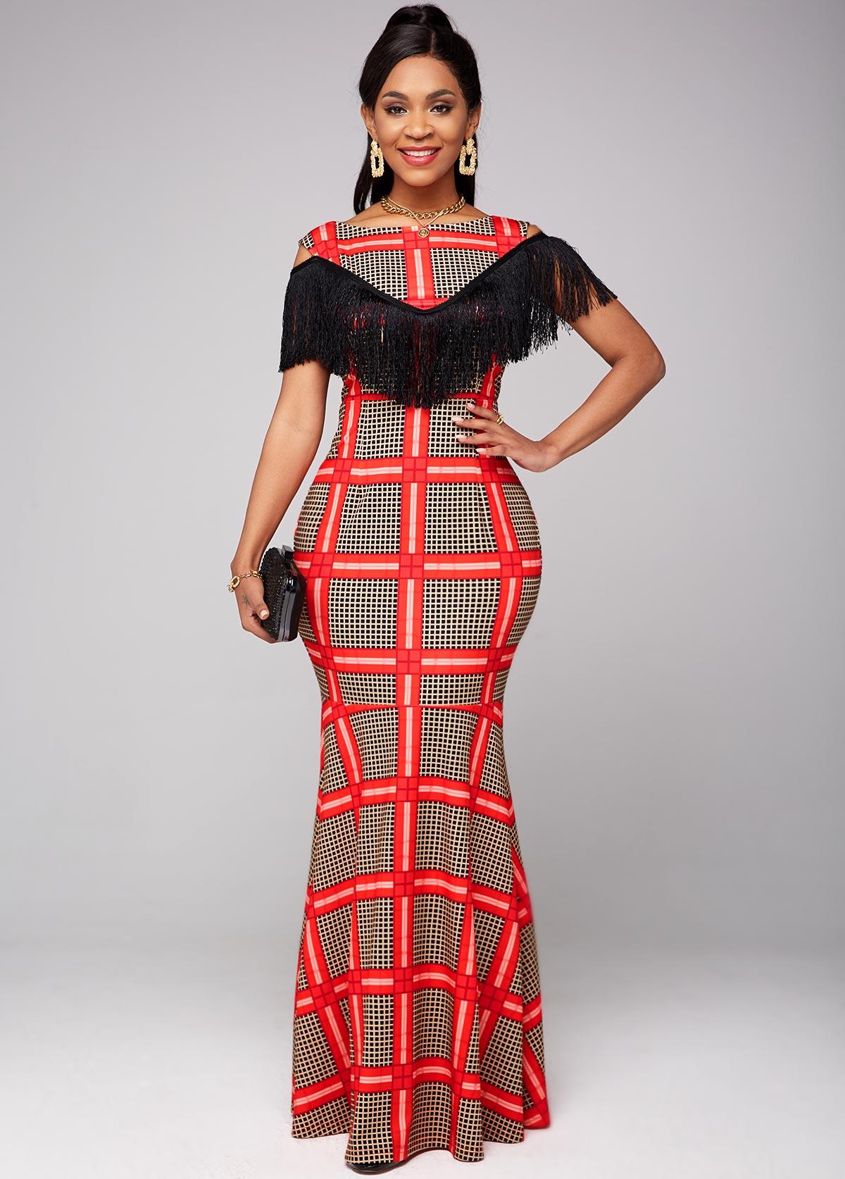 ROTITA Tassel Detail Cold Shoulder Plaid Dress