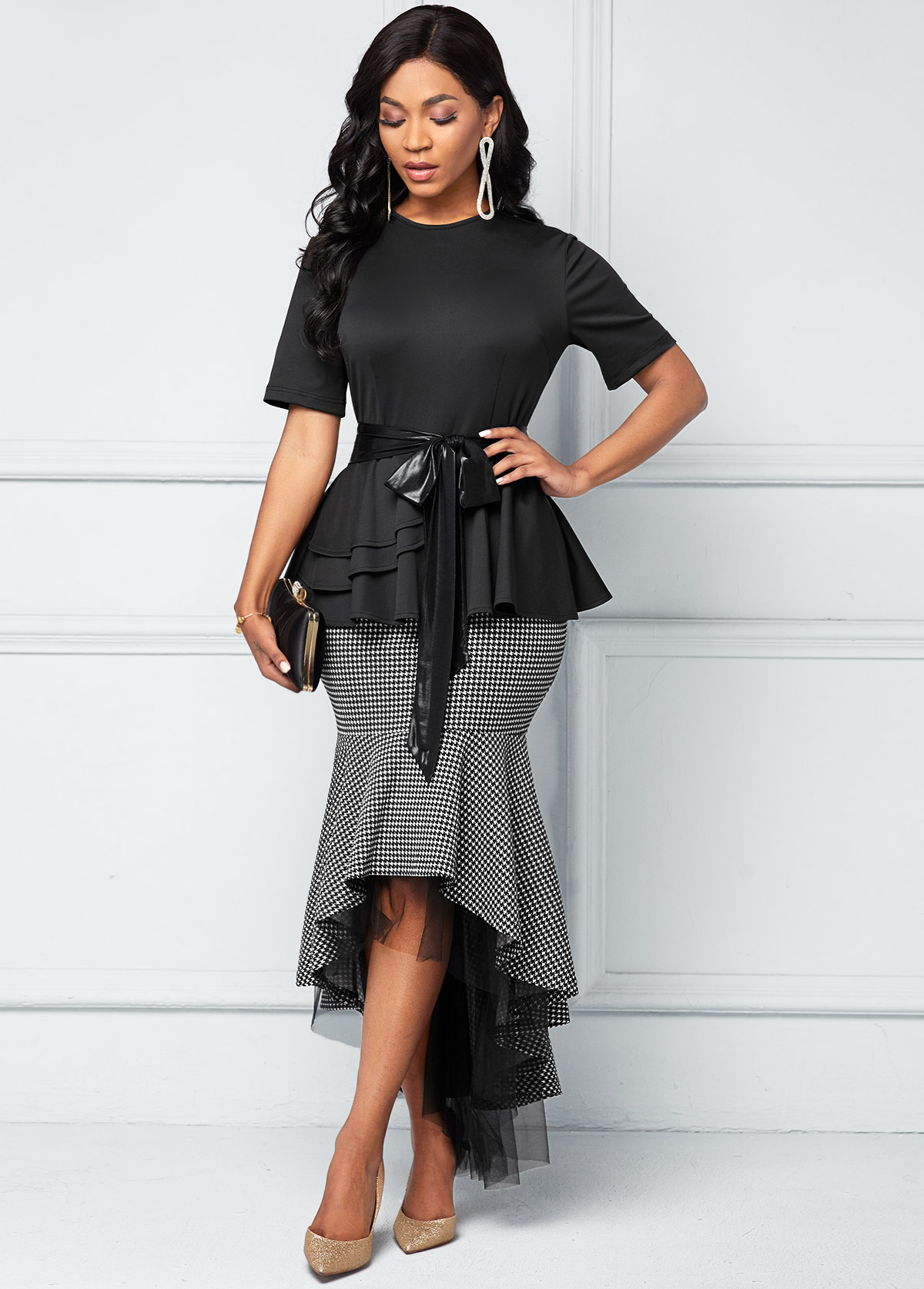 ROTITA Belted Houndstooth Print Mesh Stitching Dress