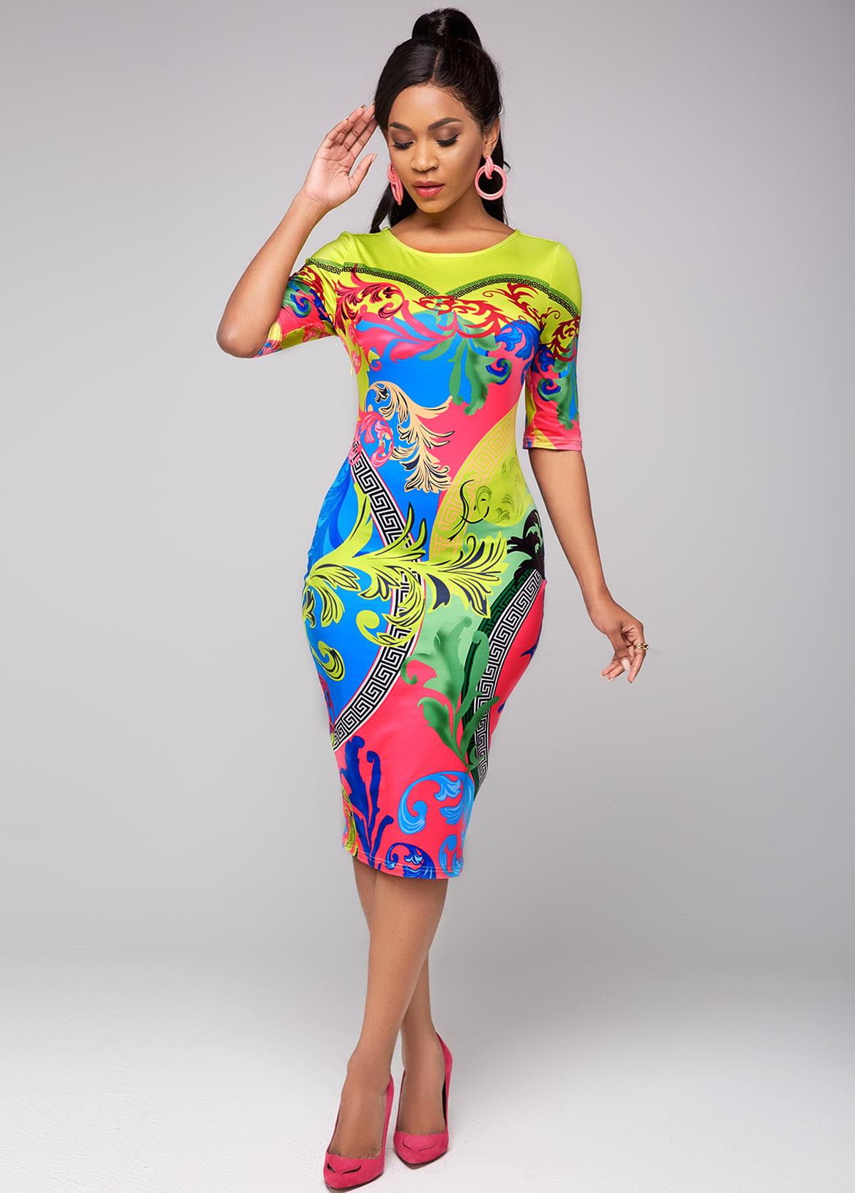 ROTITA Round Neck Half Sleeve Tribal Print Dress