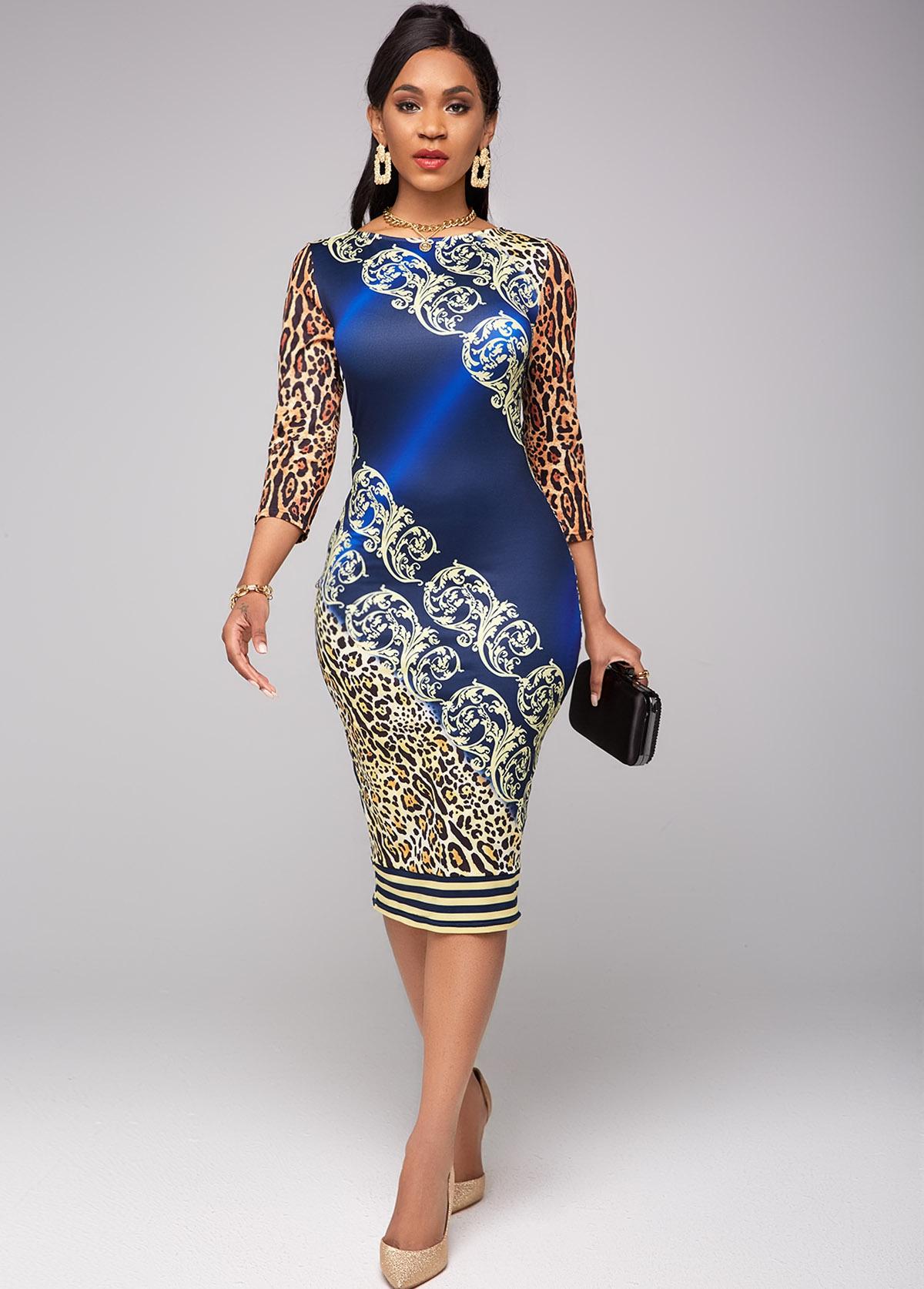 ROTITA Round Neck Leopard 3/4 Sleeve Dress