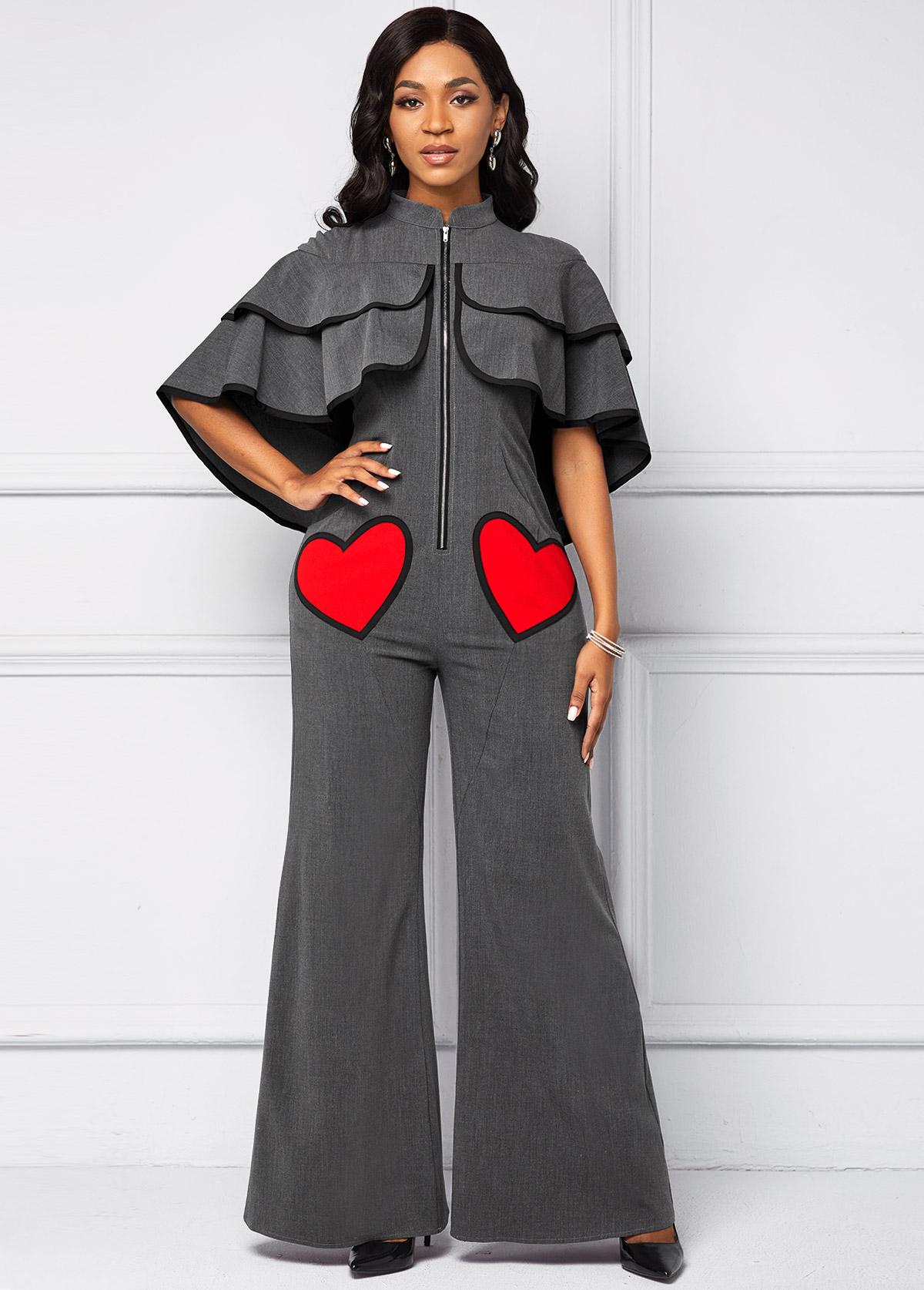 ROTITA Heart Detail Cape Sleeve Pocket Jumpsuit