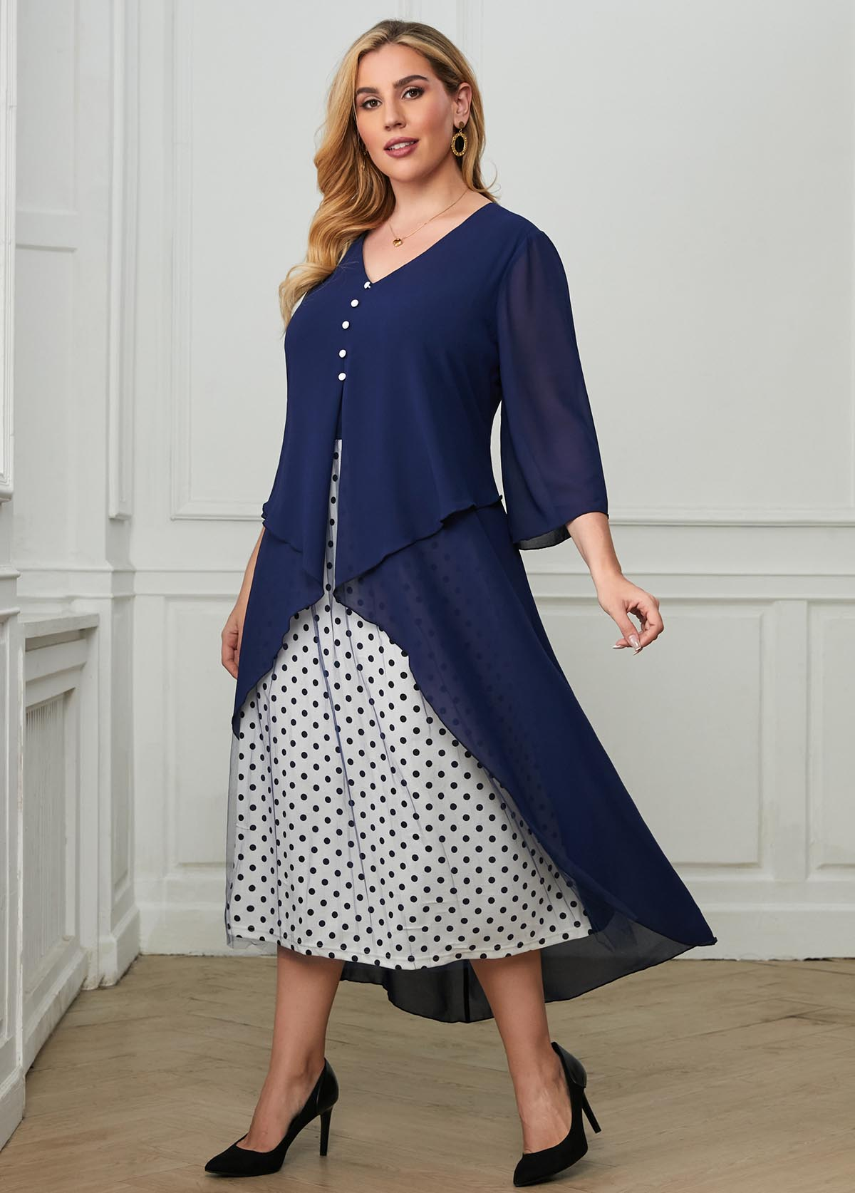 ROTITA Polka Dot Mesh Stitching Layered Plus Size Dress