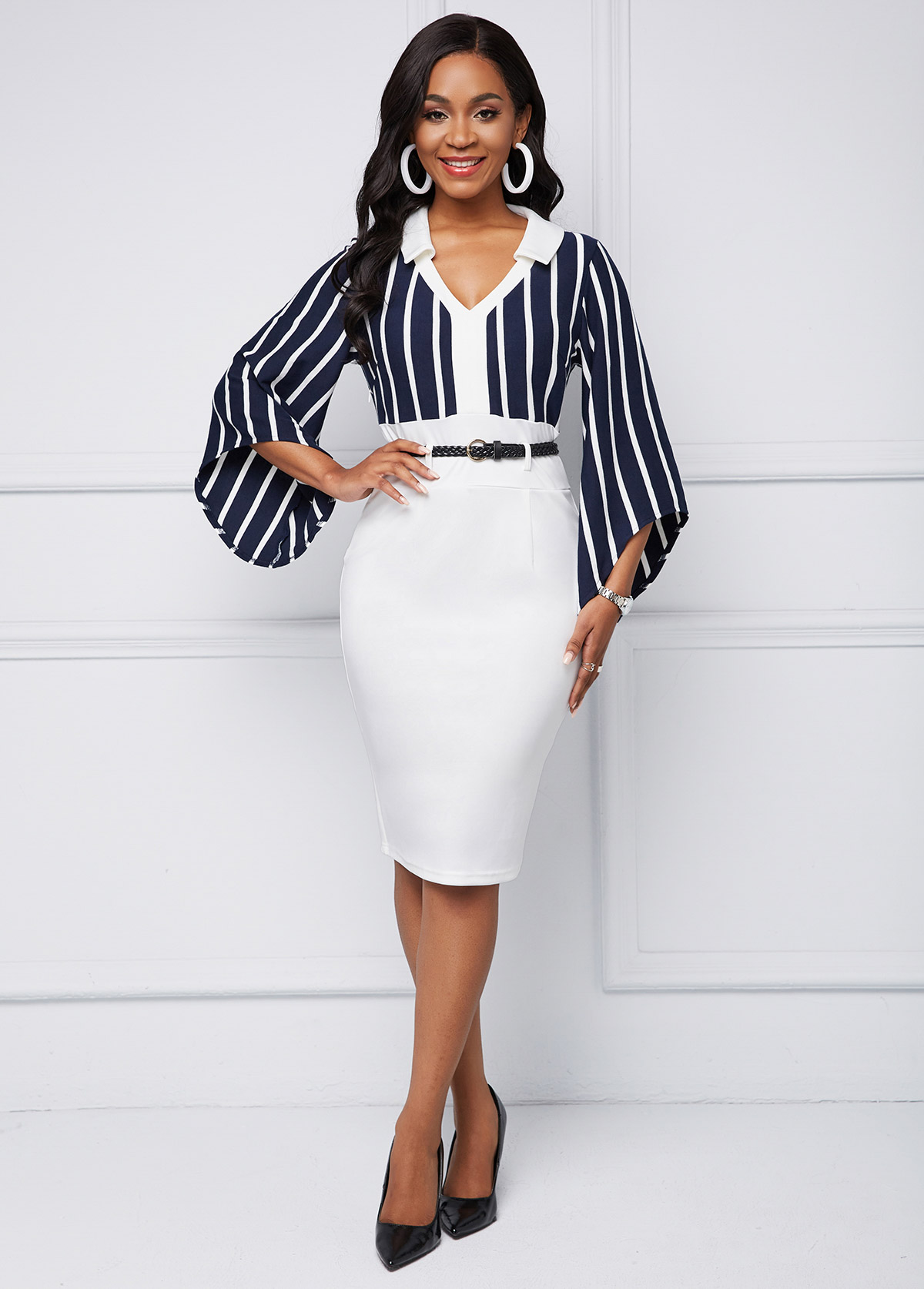 ROTITA Belted Striped Contrast Long Sleeve Dress