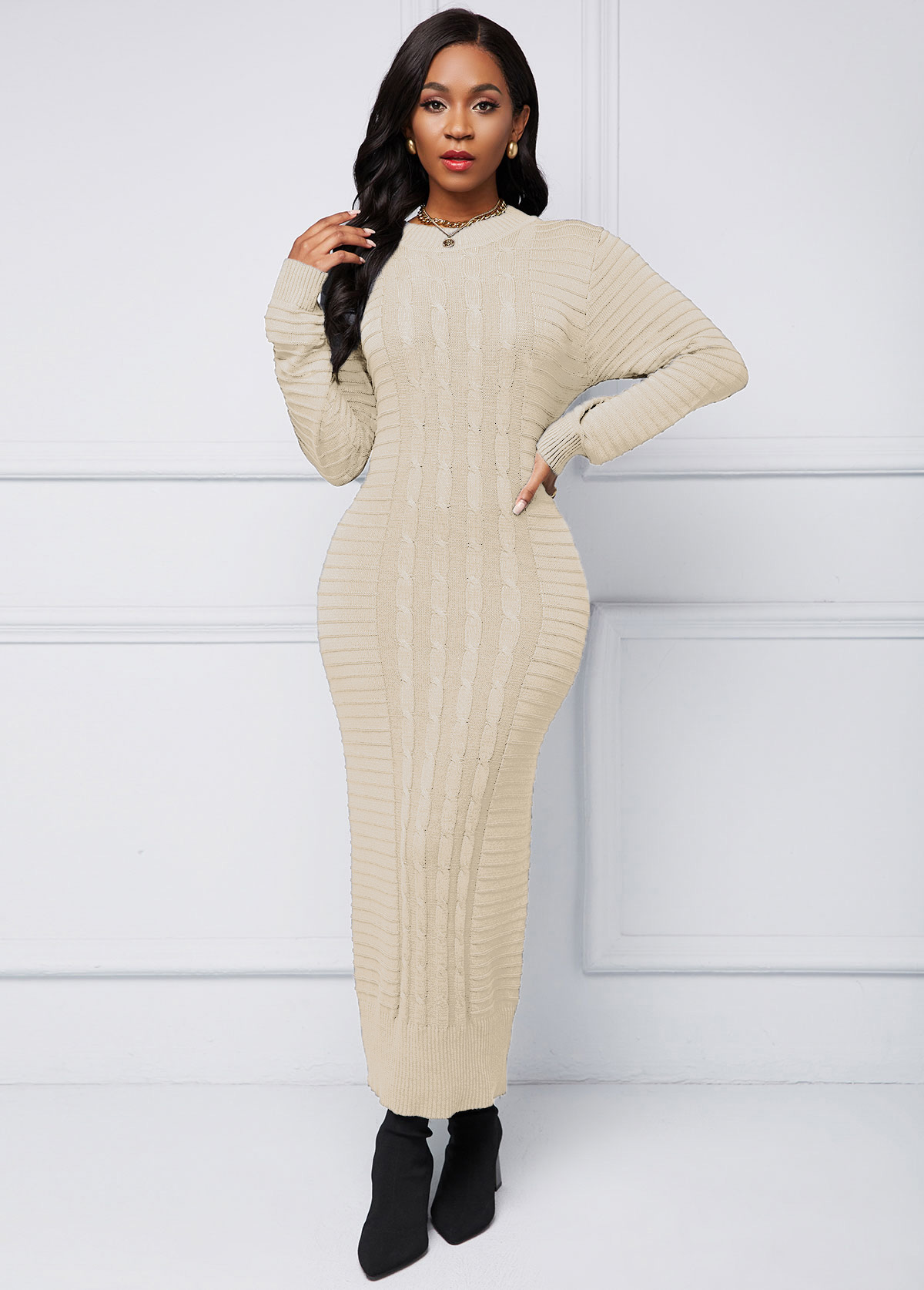Cable Knit Long Sleeve Sweater Dress