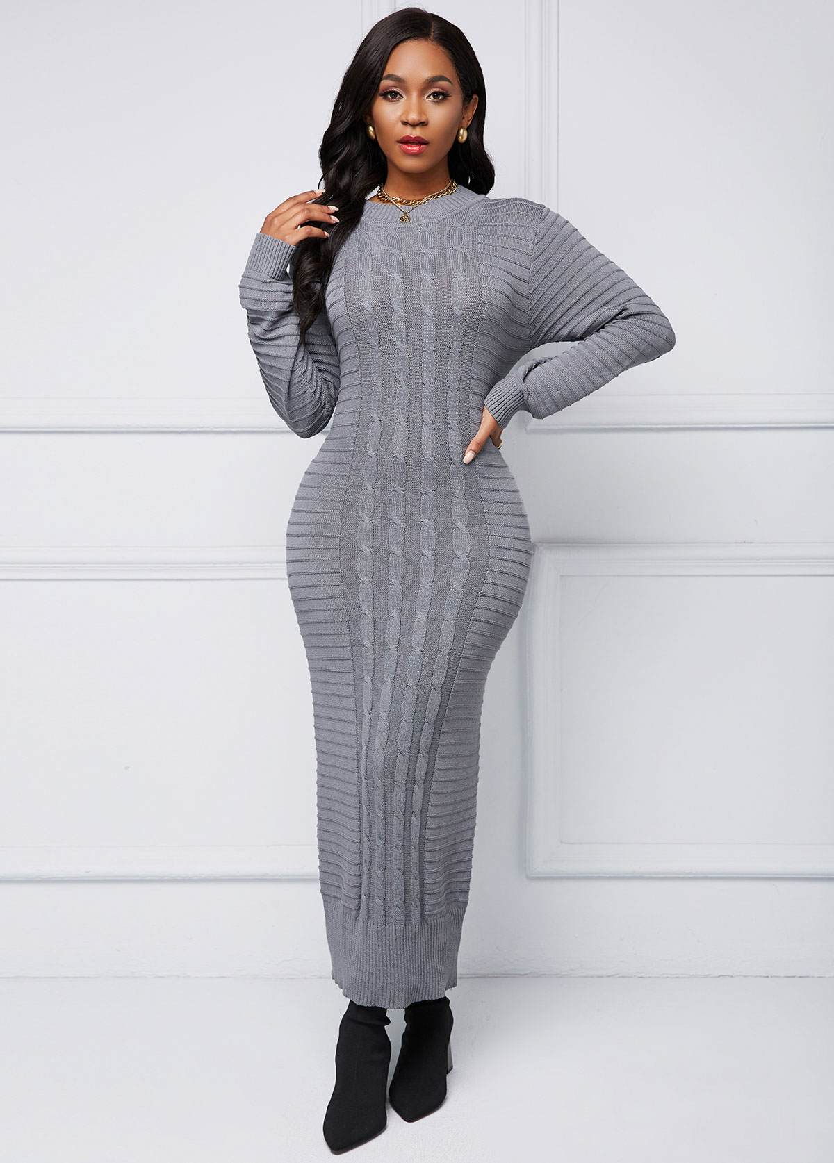 Cable Knit Round Neck Sweater Dress