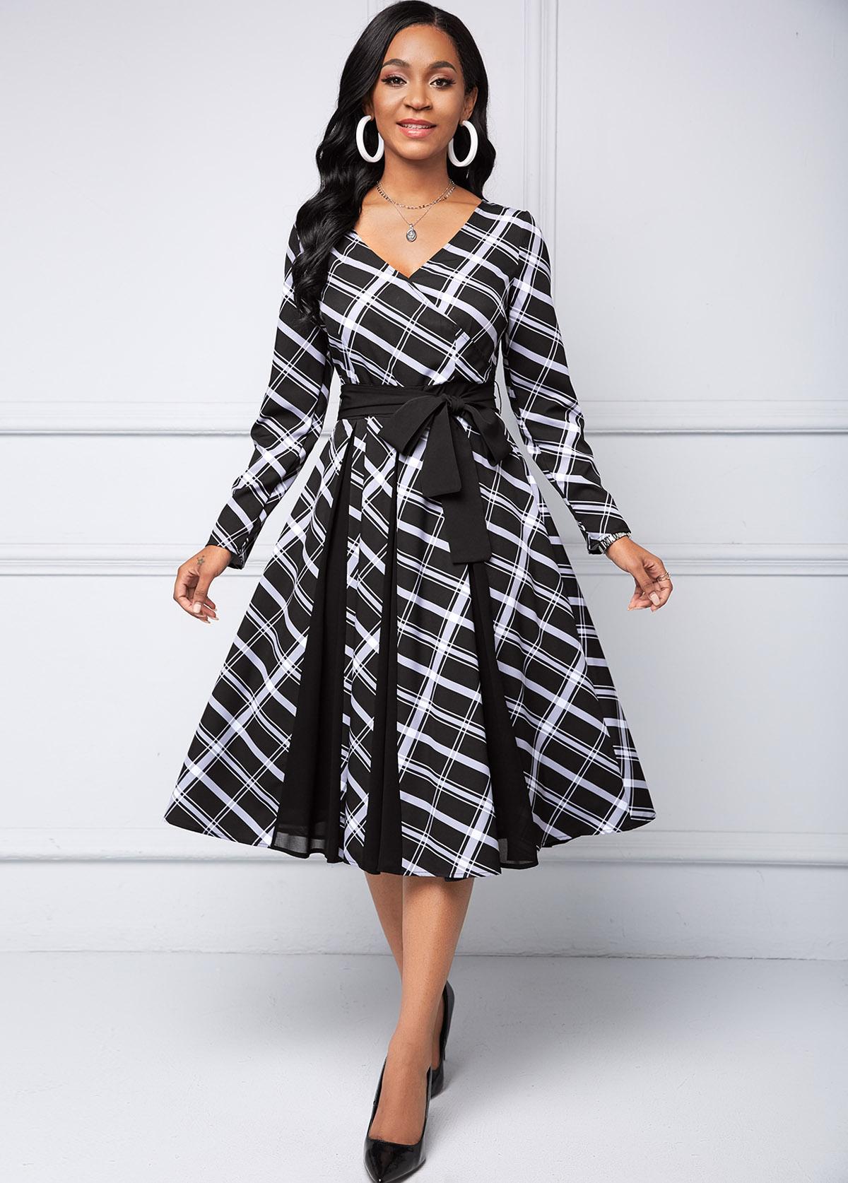 ROTITA Plaid Long Sleeve V Neck dress
