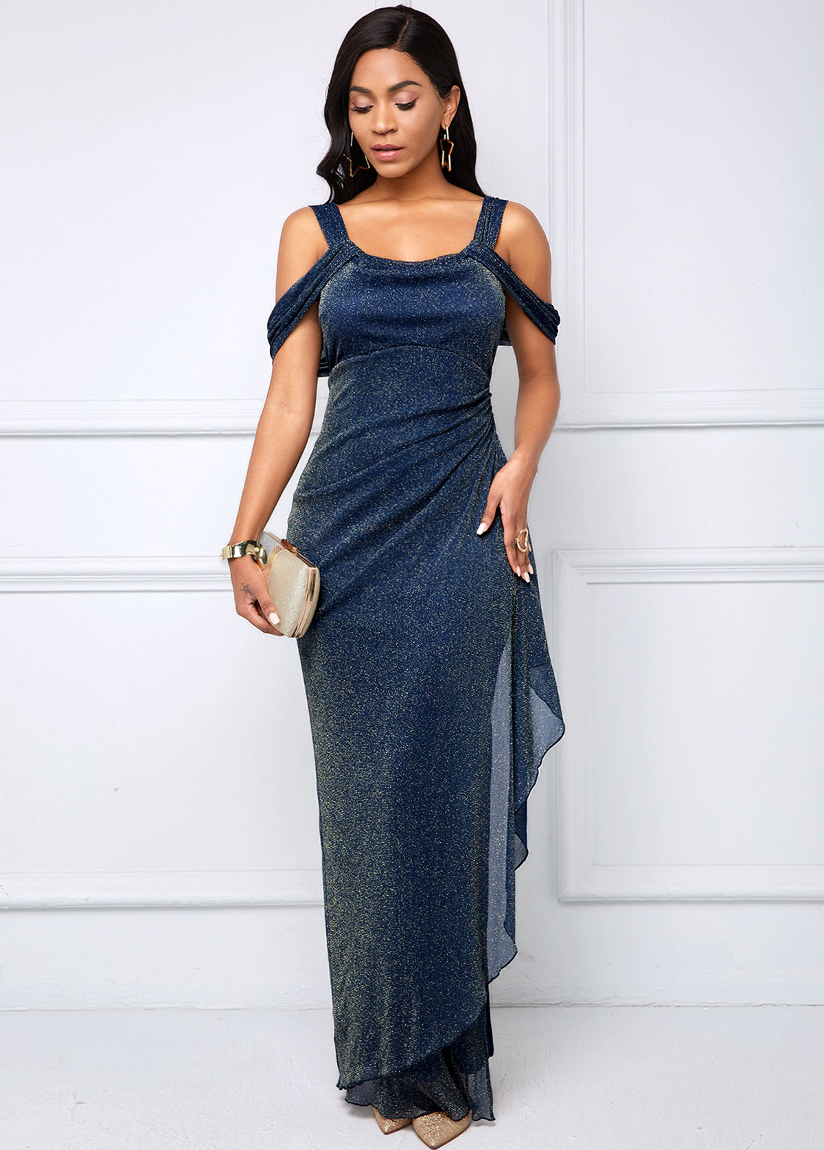 ROTITA Strappy Cold Shoulder Side Slit Bright Silk Dress