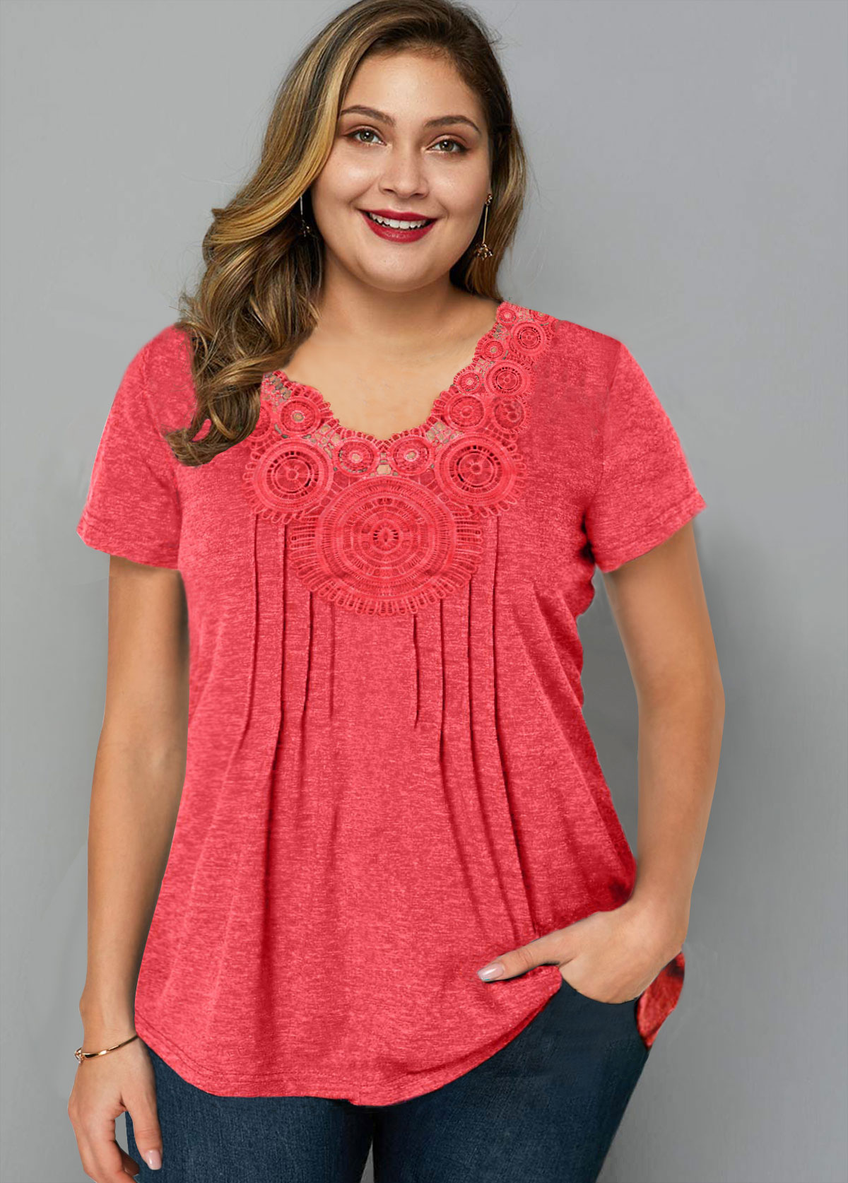 ROTITA Plus Size Short Sleeve Crinkle Chest T Shirt