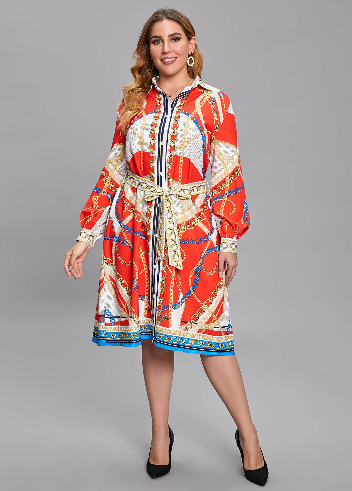 Plus Size Chain Print Belted Dress