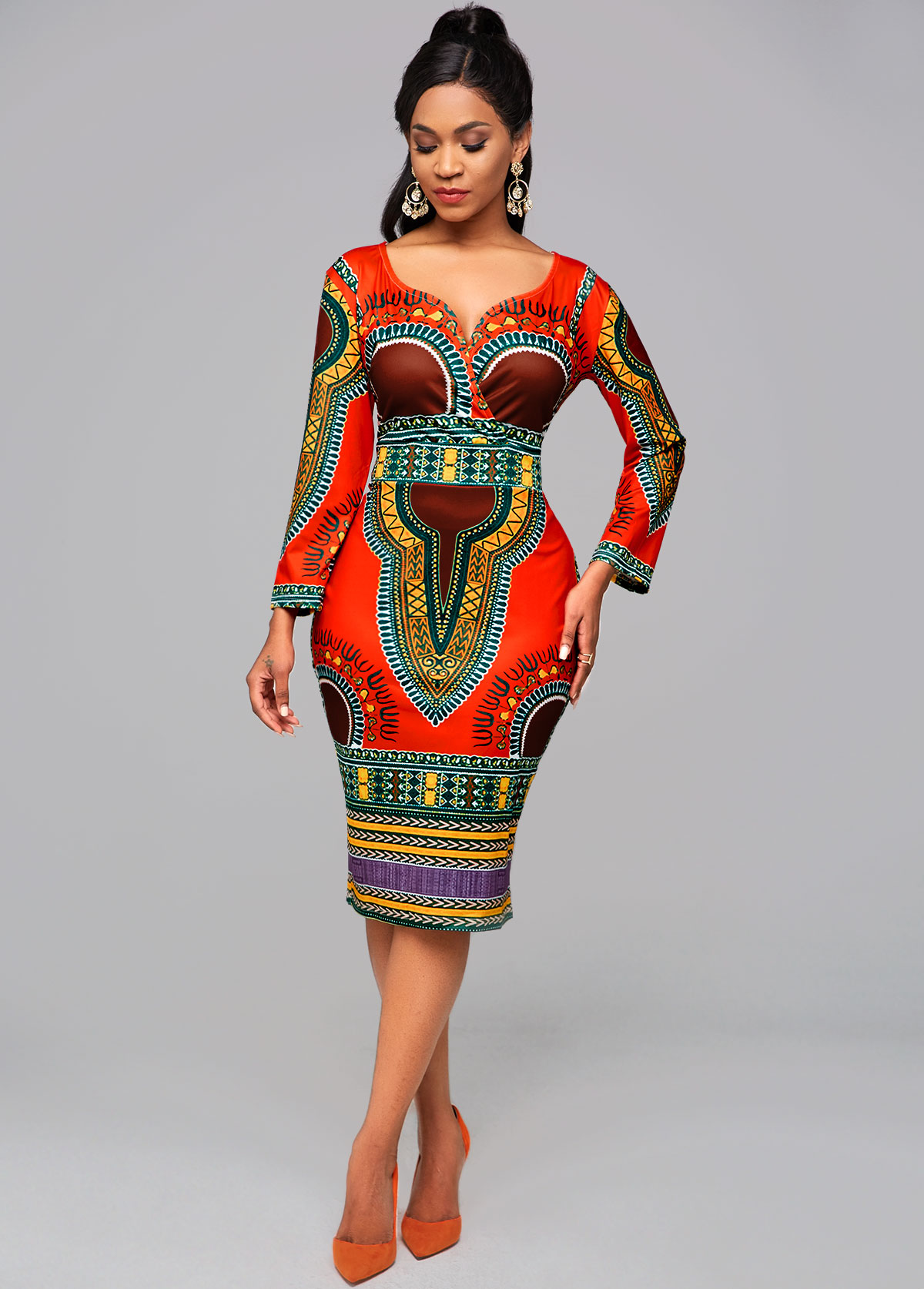 Dashiki Print Long Sleeve Bodycon Dress