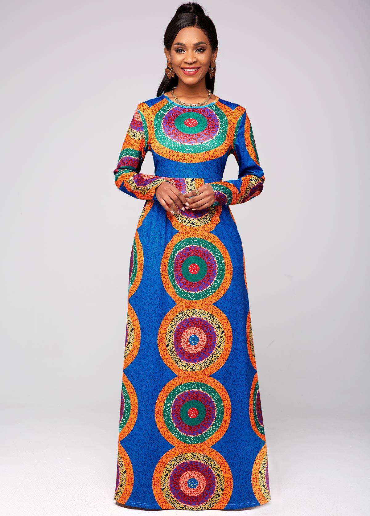 Round Neck Long Sleeve Tribal Print Dress