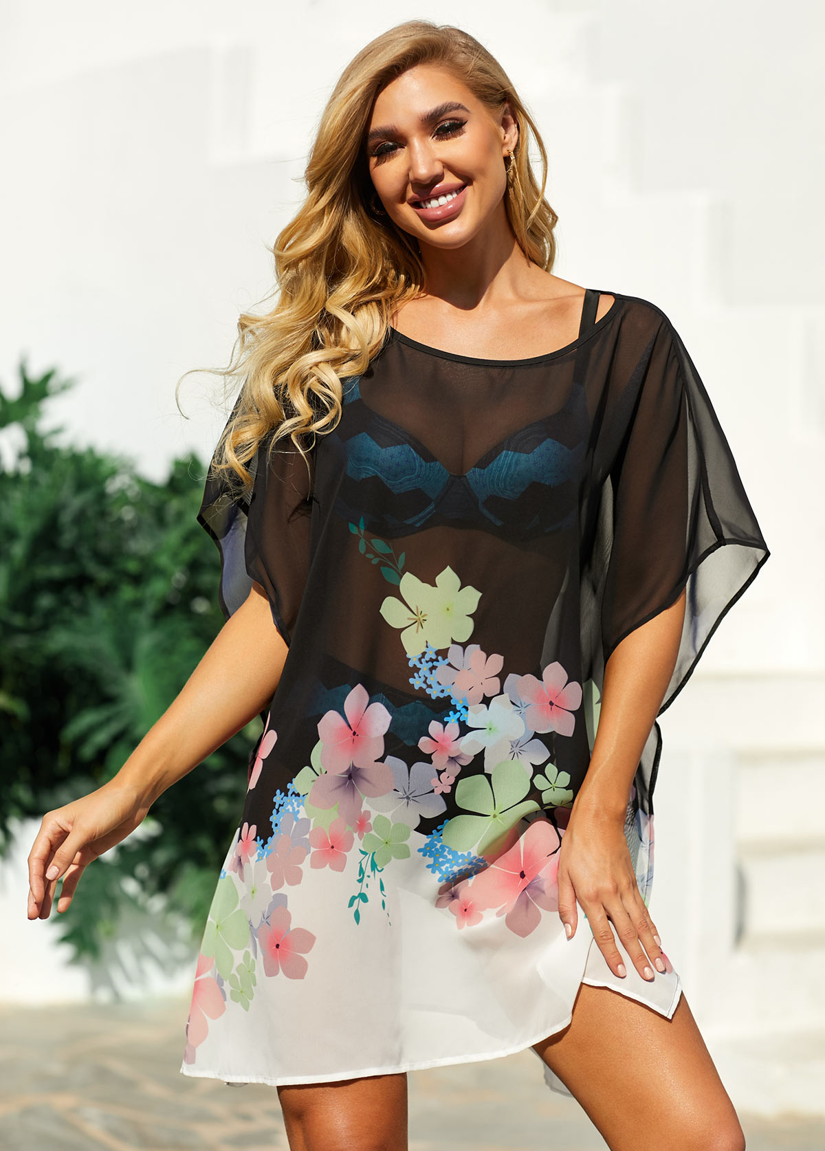 ROTITA Floral Print Black Side Slit Cover Up